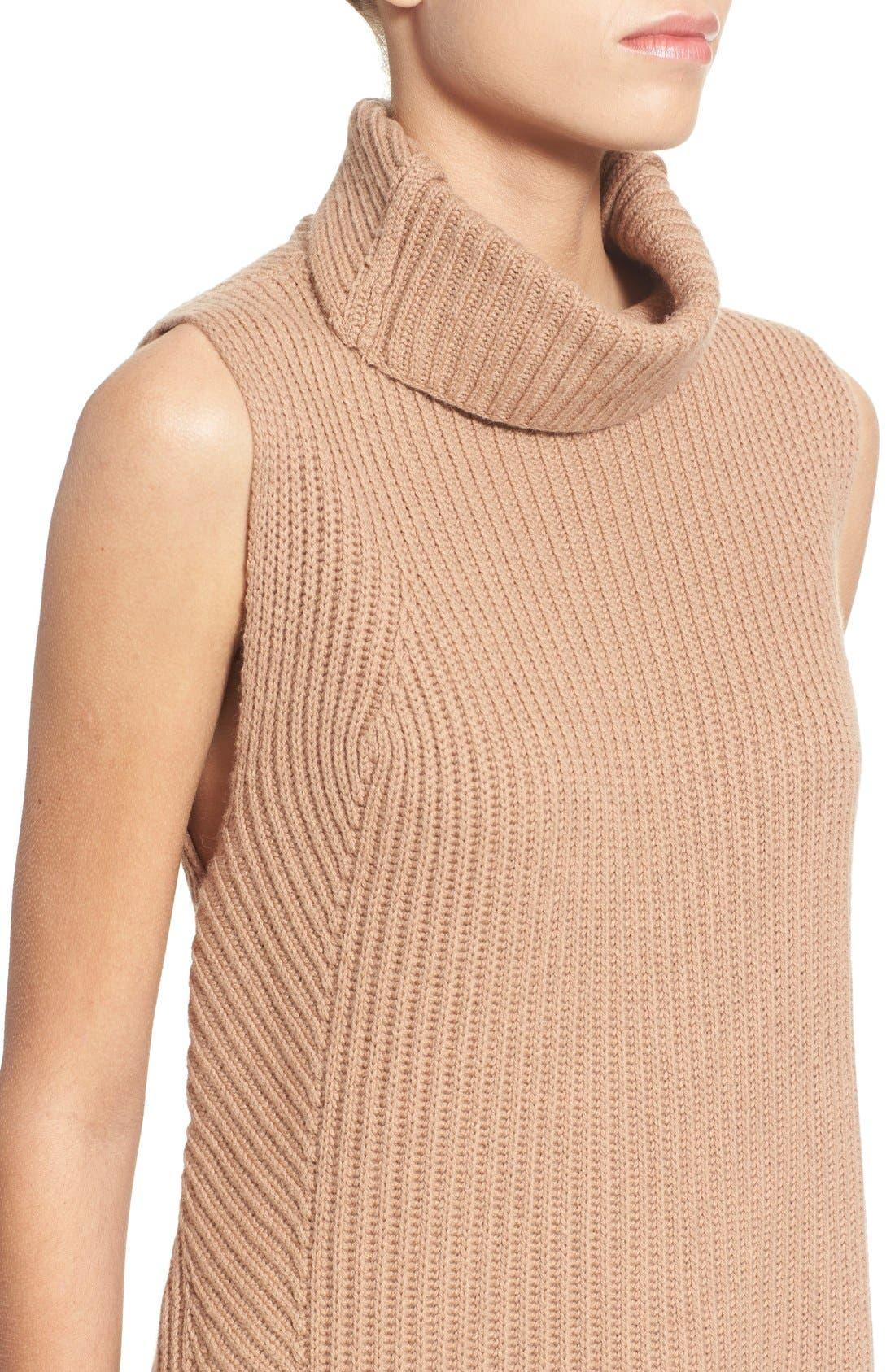 Sleeveless Ribbed Wool Turtleneck,                             Alternate thumbnail 4, color,                             Almond
