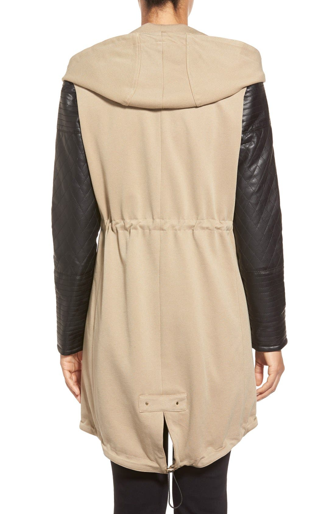 Alternate Image 2  - Vince Camuto Faux Leather Sleeve Asymmetrical Anorak