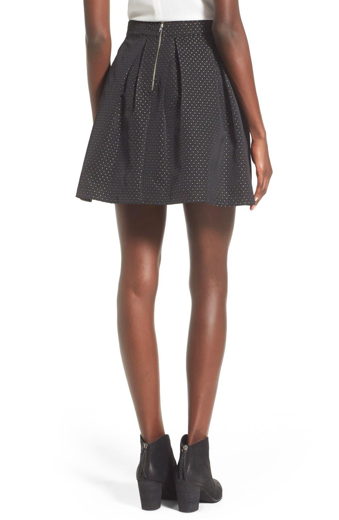 Alternate Image 2  - Soprano Metallic Dot Textured Skater Skirt