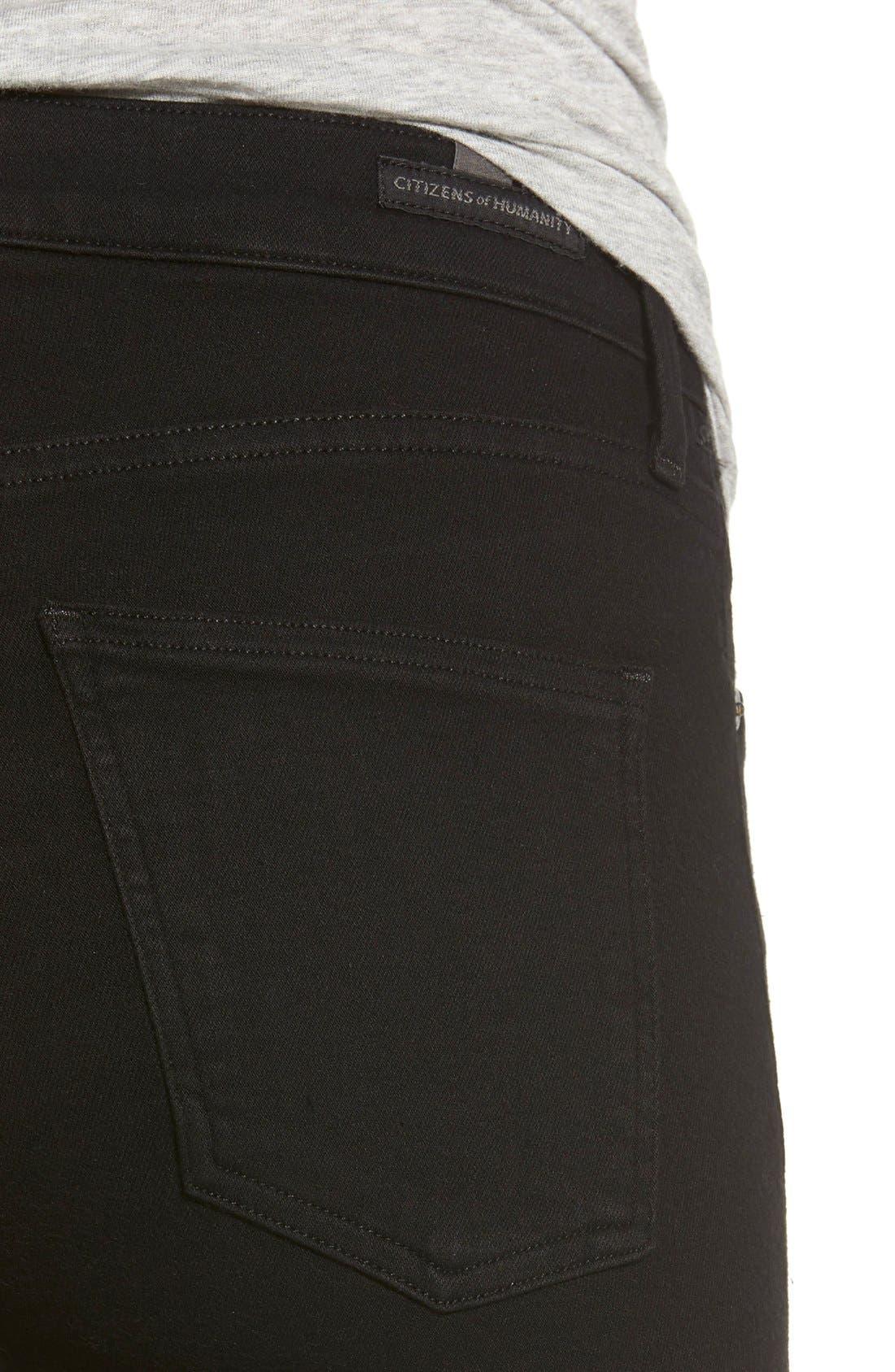 Rocket High Waist Skinny Jeans,                             Alternate thumbnail 4, color,                             Black