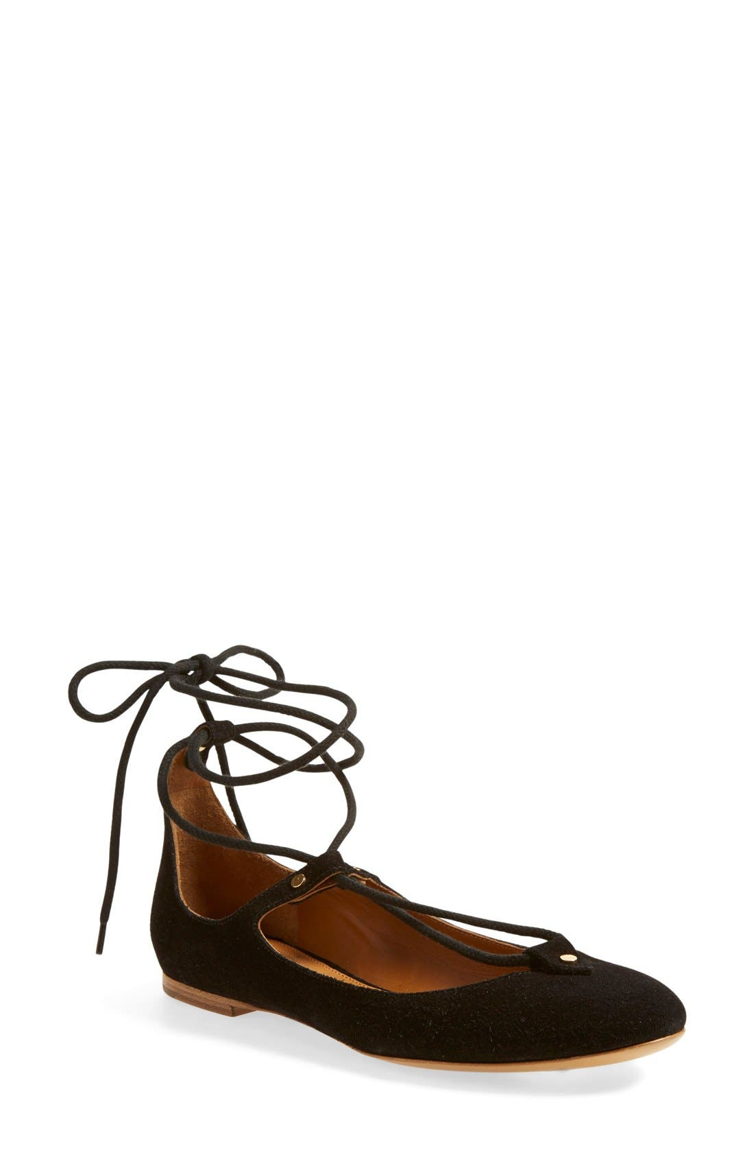 Main Image - Chloé 'Foster' Lace-Up Ballet Flat (Women)