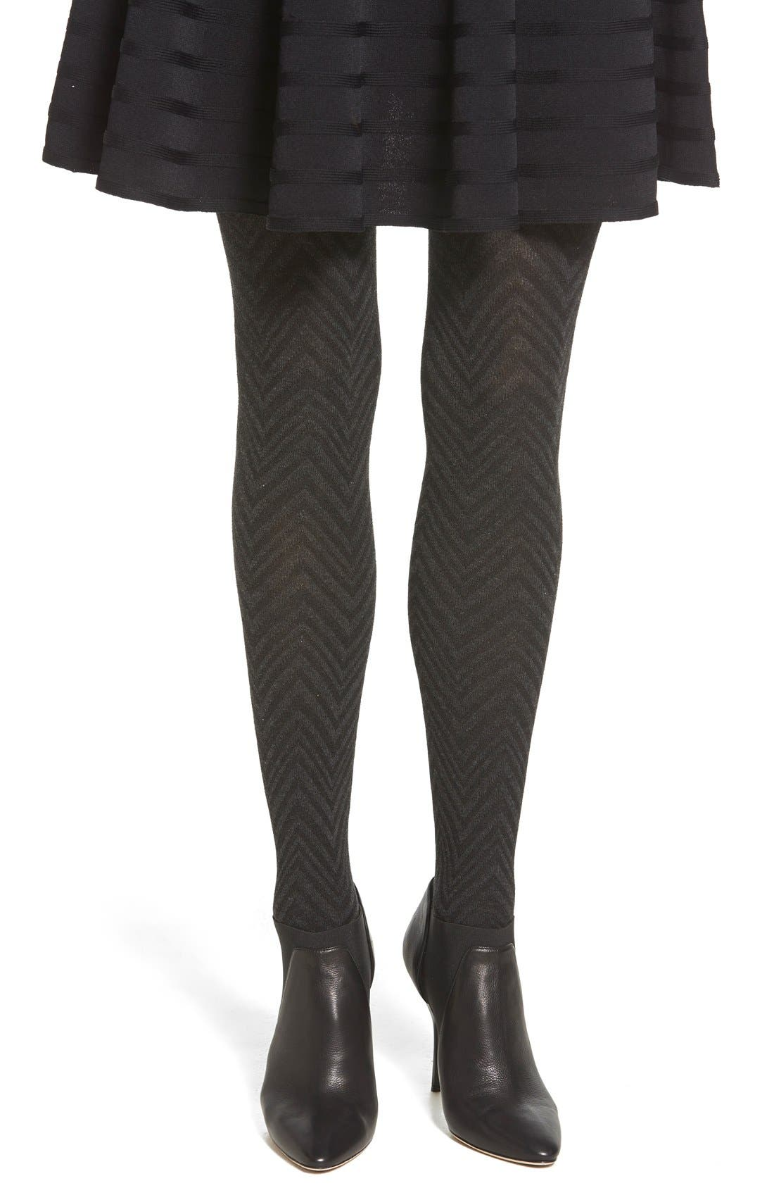Alternate Image 1 Selected - Hue Chevron Stripe Tights with Stirrup Straps