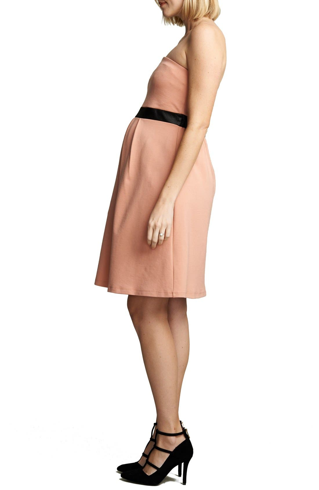 Strapless Maternity Dress,                             Alternate thumbnail 3, color,                             Blush/ Black