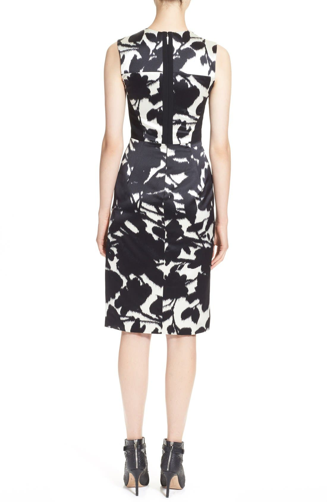 Alternate Image 2  - Prabal Gurung Floral Print Sleeveless Duchesse Satin Sheath Dress