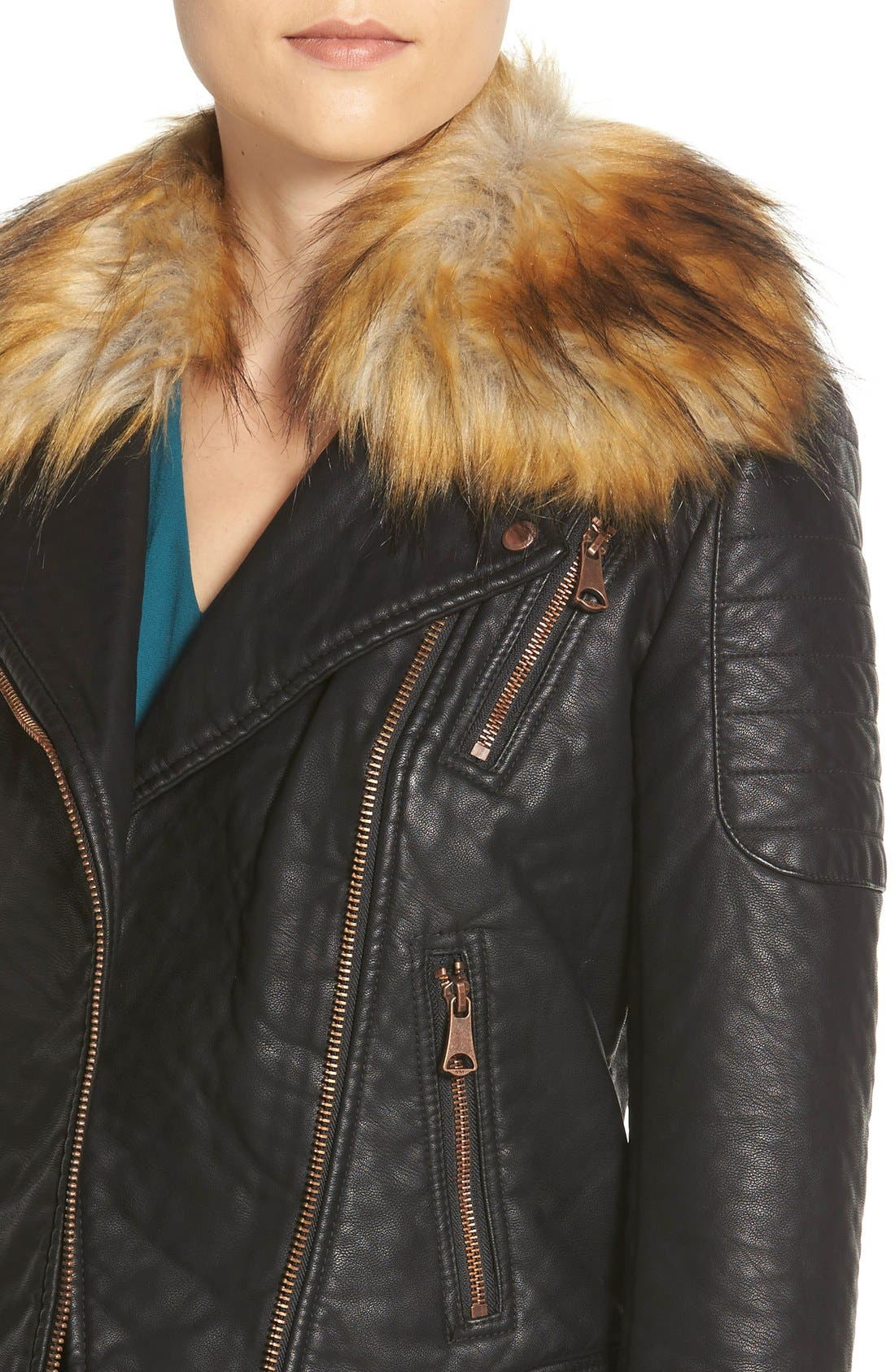 Alternate Image 4  - Marc New York 'Genna' Faux Fur Collar Faux Leather Moto Jacket