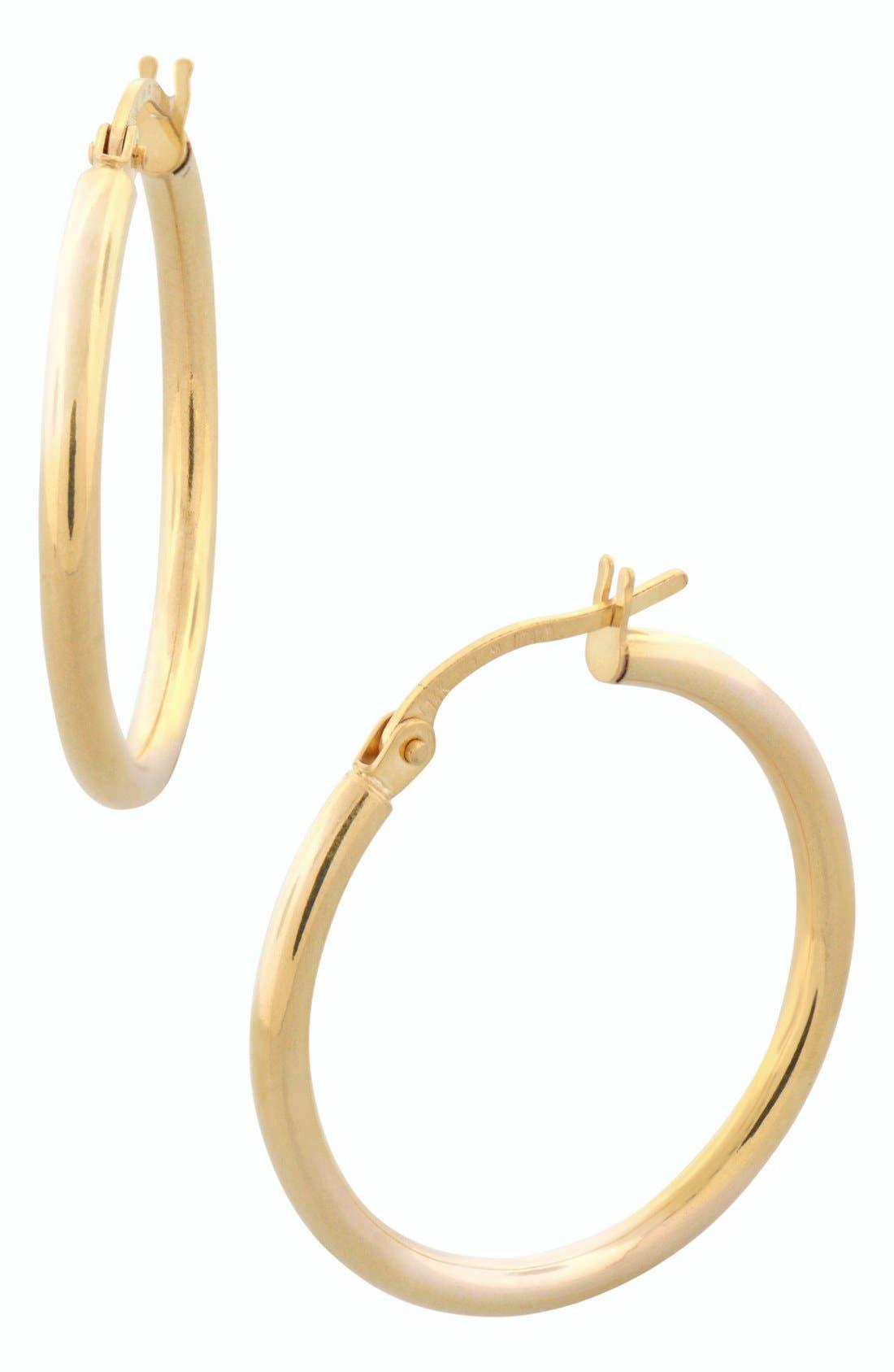 14k Gold Hoop Earrings,                         Main,                         color, Yellow Gold