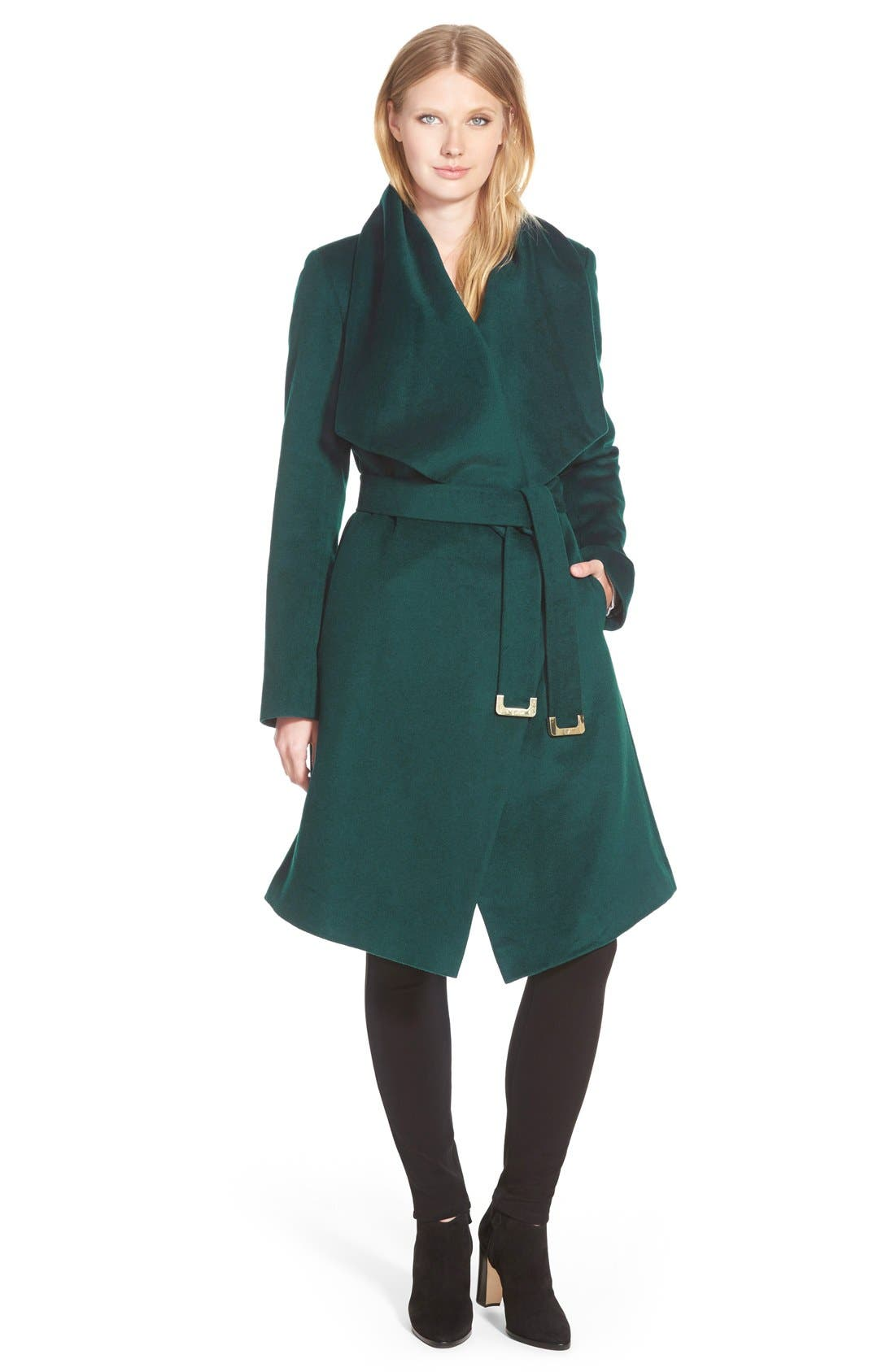 Main Image - Diane von Furstenberg 'Harlow' Drape Collar Wool Blend Wrap Coat