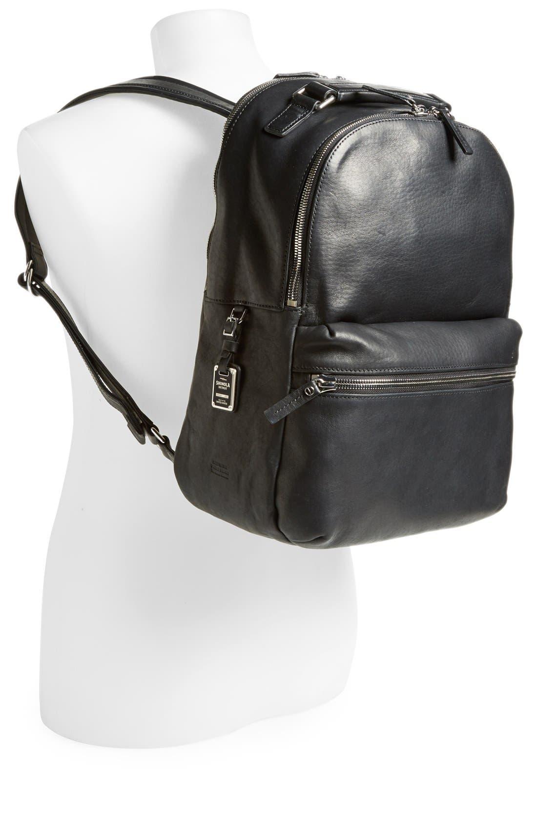 Runwell Leather Laptop Backpack,                             Alternate thumbnail 2, color,                             Black