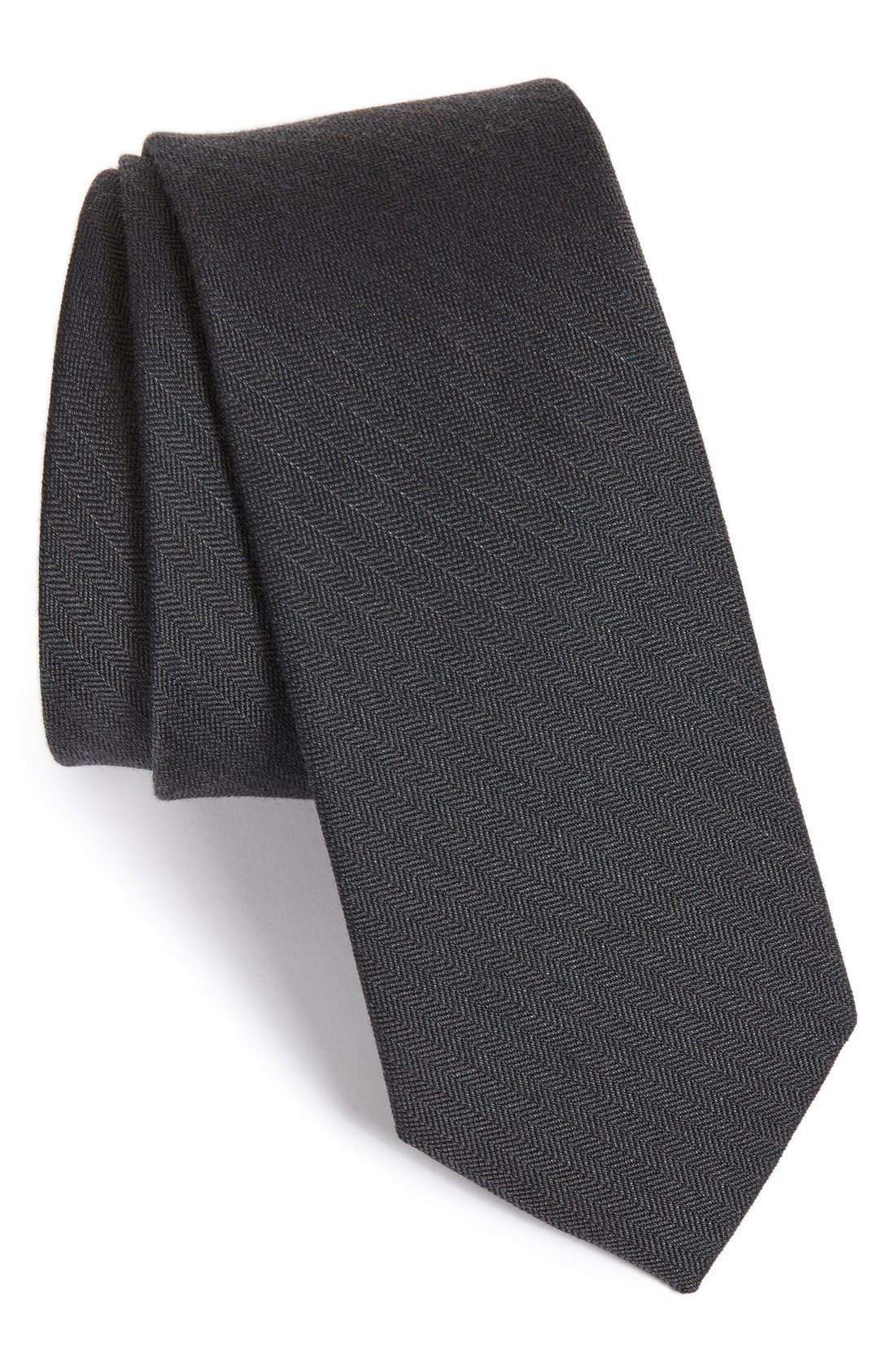 Solid Wool & Silk Tie,                             Main thumbnail 1, color,                             Charcoal