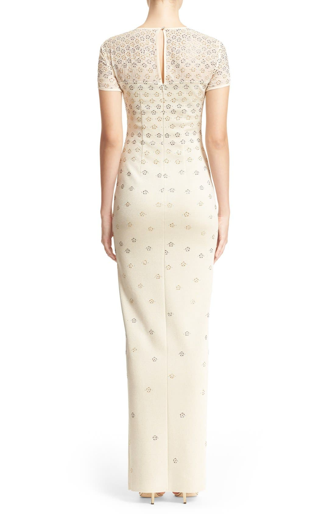 Alternate Image 2  - St. John Collection Crystal Embellished Shimmer Milano Knit Gown
