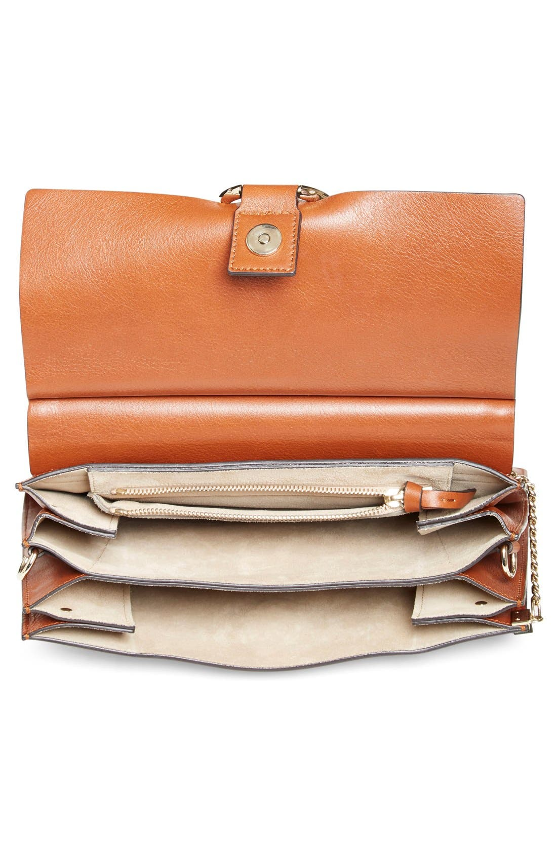 'Faye' Leather & Suede Shoulder Bag,                             Alternate thumbnail 3, color,                             Classic Tobacco