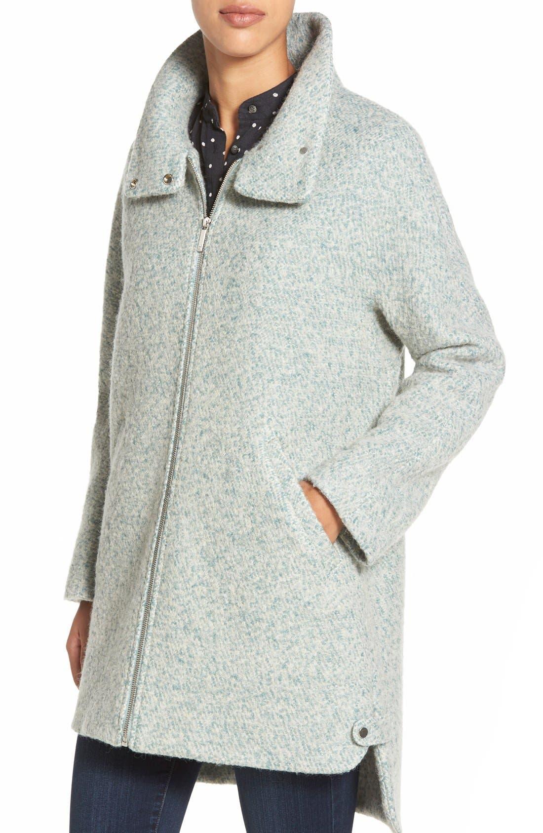 Zip Front Stand Collar Bouclé Coat,                             Alternate thumbnail 5, color,                             Mint