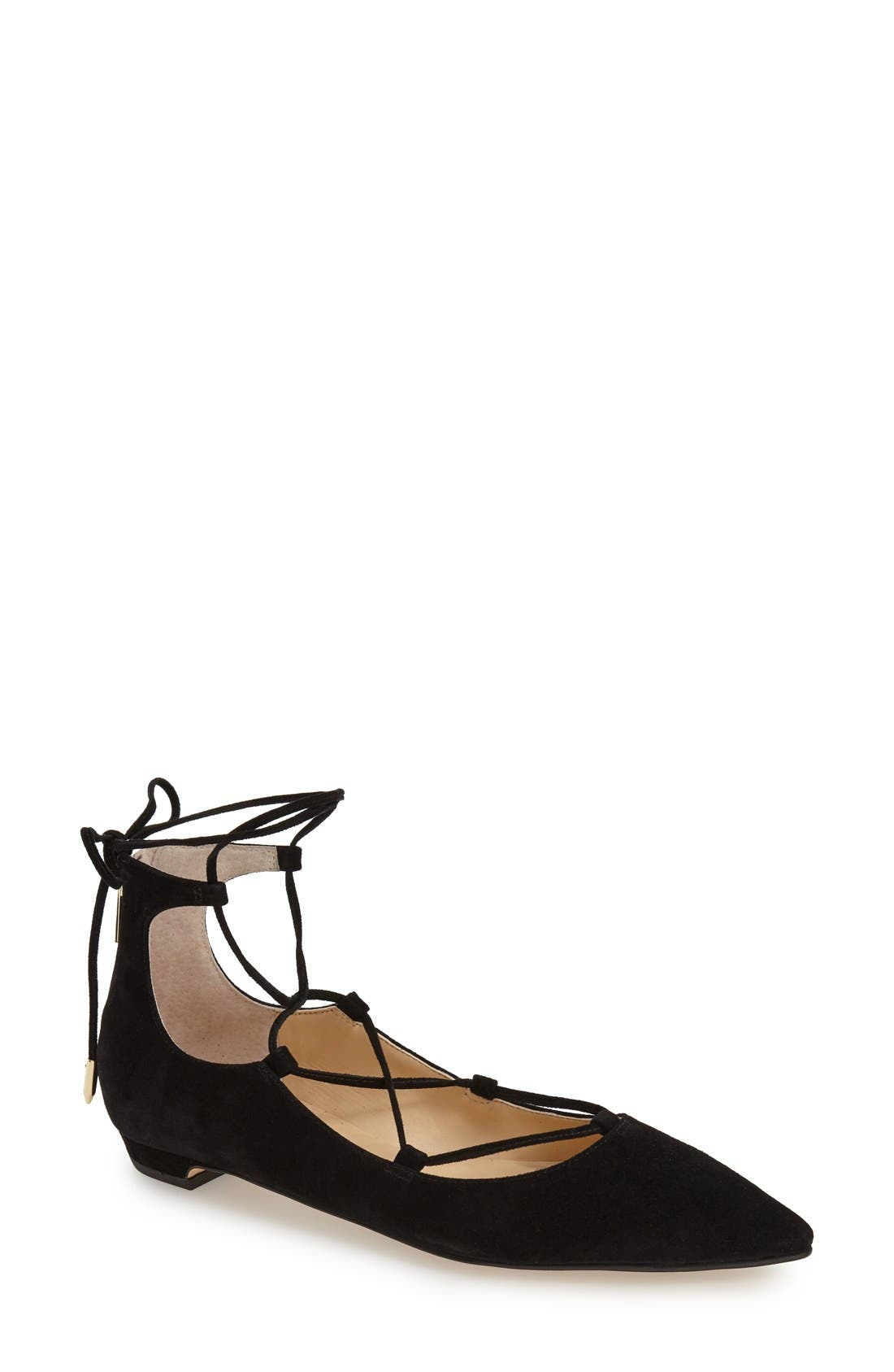 'Tropica' Pointy Toe Ghillie Flat,                         Main,                         color, Black Suede
