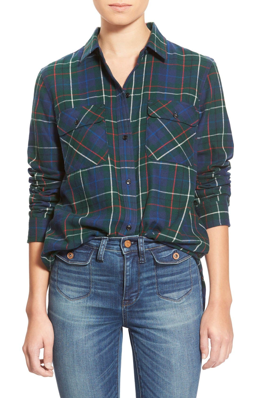 Alternate Image 1 Selected - Madewell Ex Boyfriend - Ontario Plaid Flannel Shirt