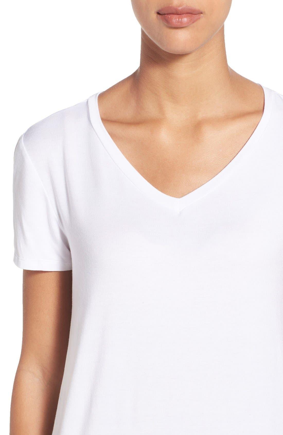 Modal Jersey V-Neck Tee,                             Alternate thumbnail 4, color,                             White
