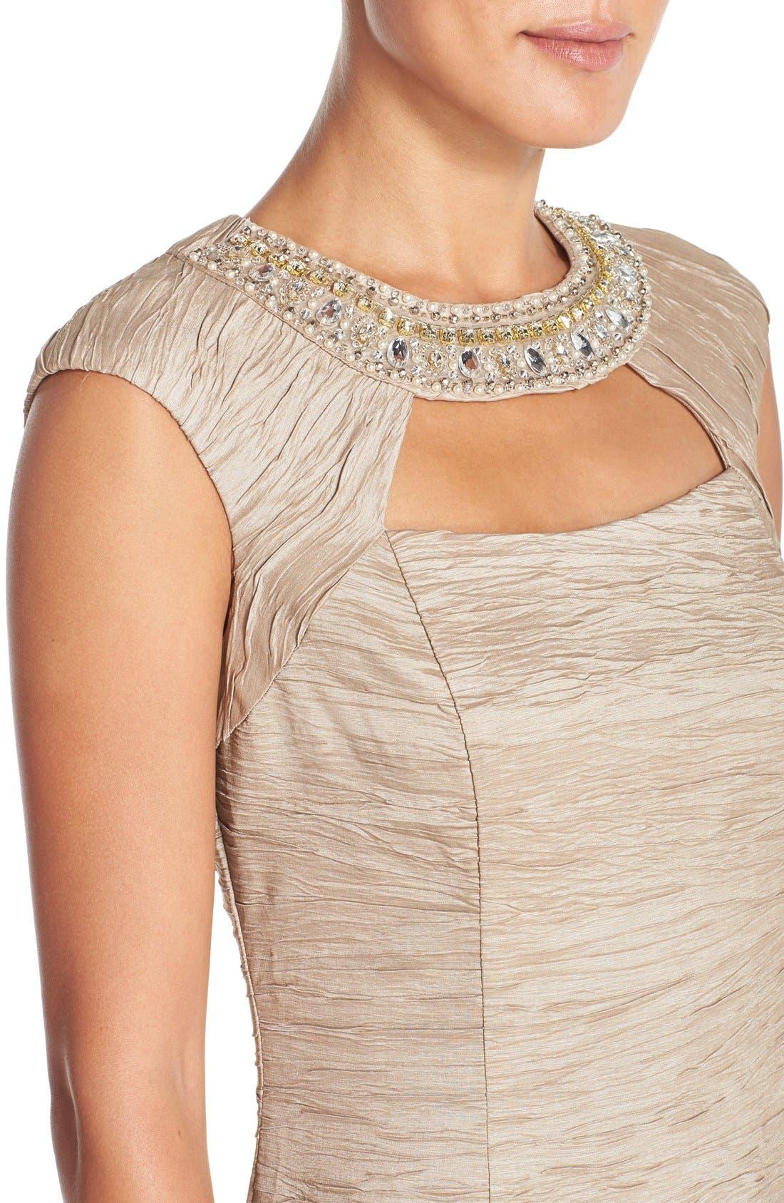 Alternate Image 4  - Eliza J Embellished Crushed Taffeta Sheath Dress