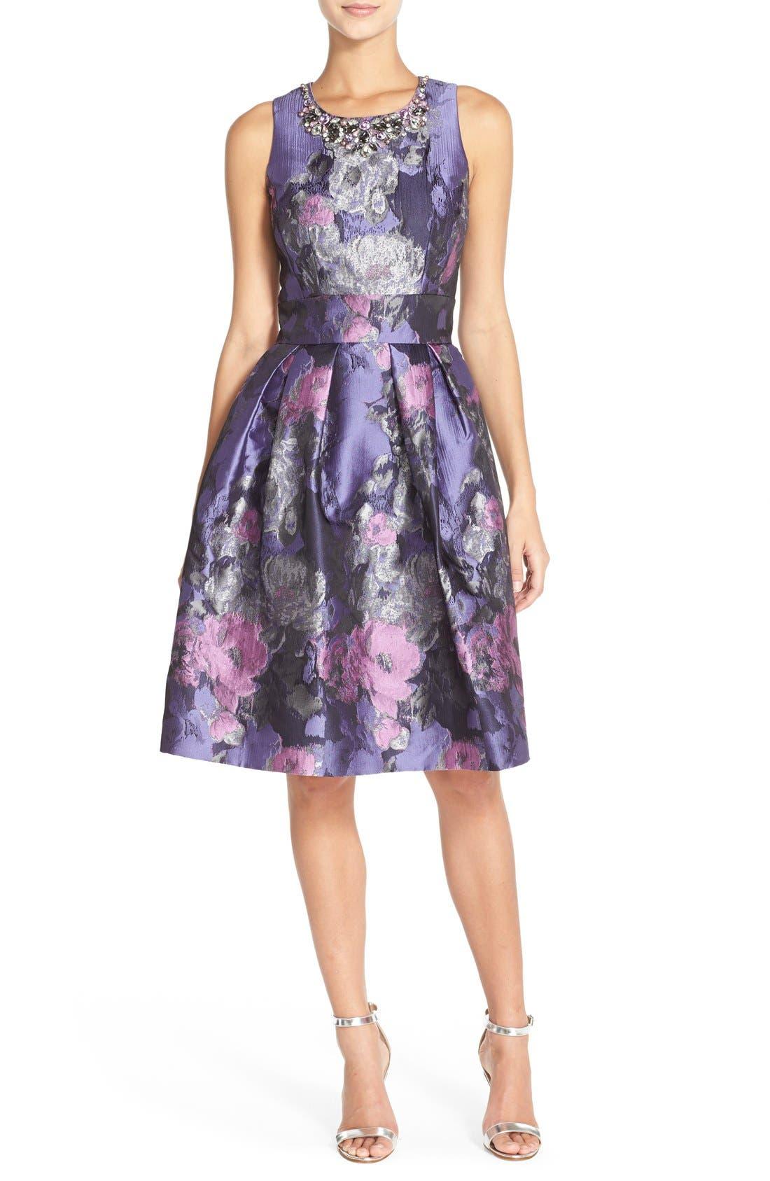 Main Image - Eliza J Embellished Jacquard Fit & Flare Dress (Regular & Petite)