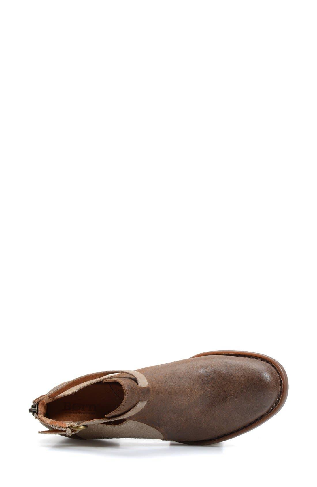 'Posh' Cutout Bootie,                             Alternate thumbnail 3, color,                             Brown/ Castoro Leather