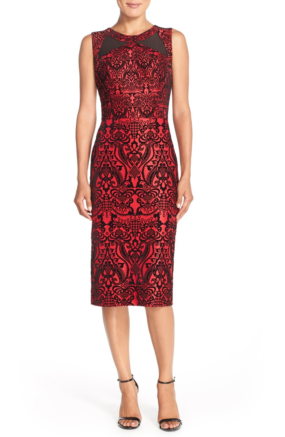 Flecked Scuba Sheath Dress,                         Main,                         color, Black/ Red