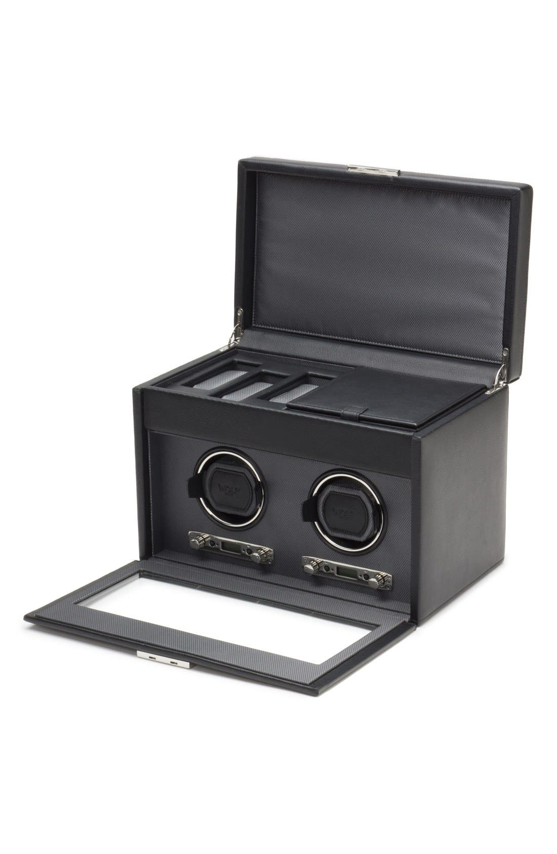Viceroy Double Watch Winder & Storage Space,                             Alternate thumbnail 2, color,                             Black