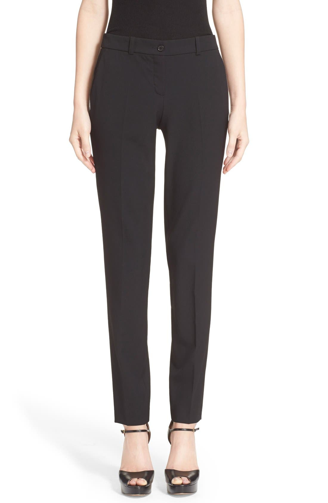 'Samantha' Stretch Wool Straight Leg Pants,                         Main,                         color, Black
