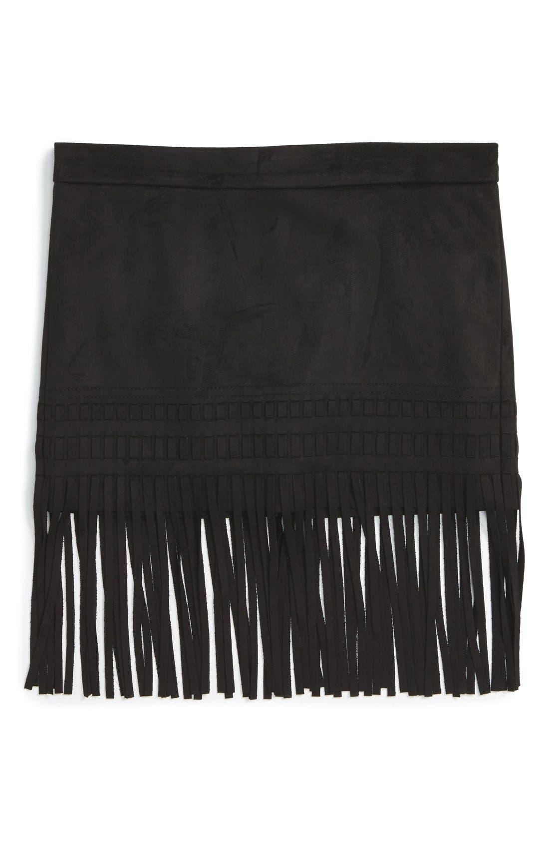 Alternate Image 1 Selected - BLANKNYC 'Seal the Deal' Faux Suede Fringe Skirt (Big Girls)