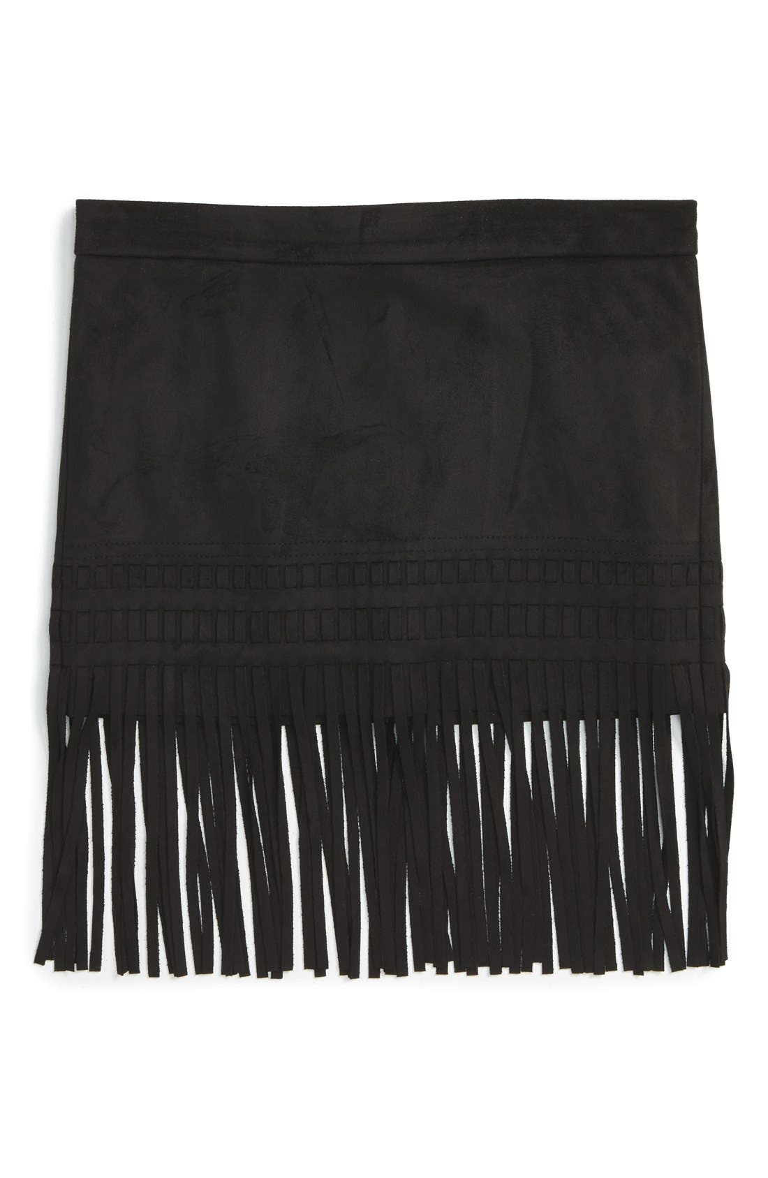 'Seal the Deal' Faux Suede Fringe Skirt,                         Main,                         color, Black