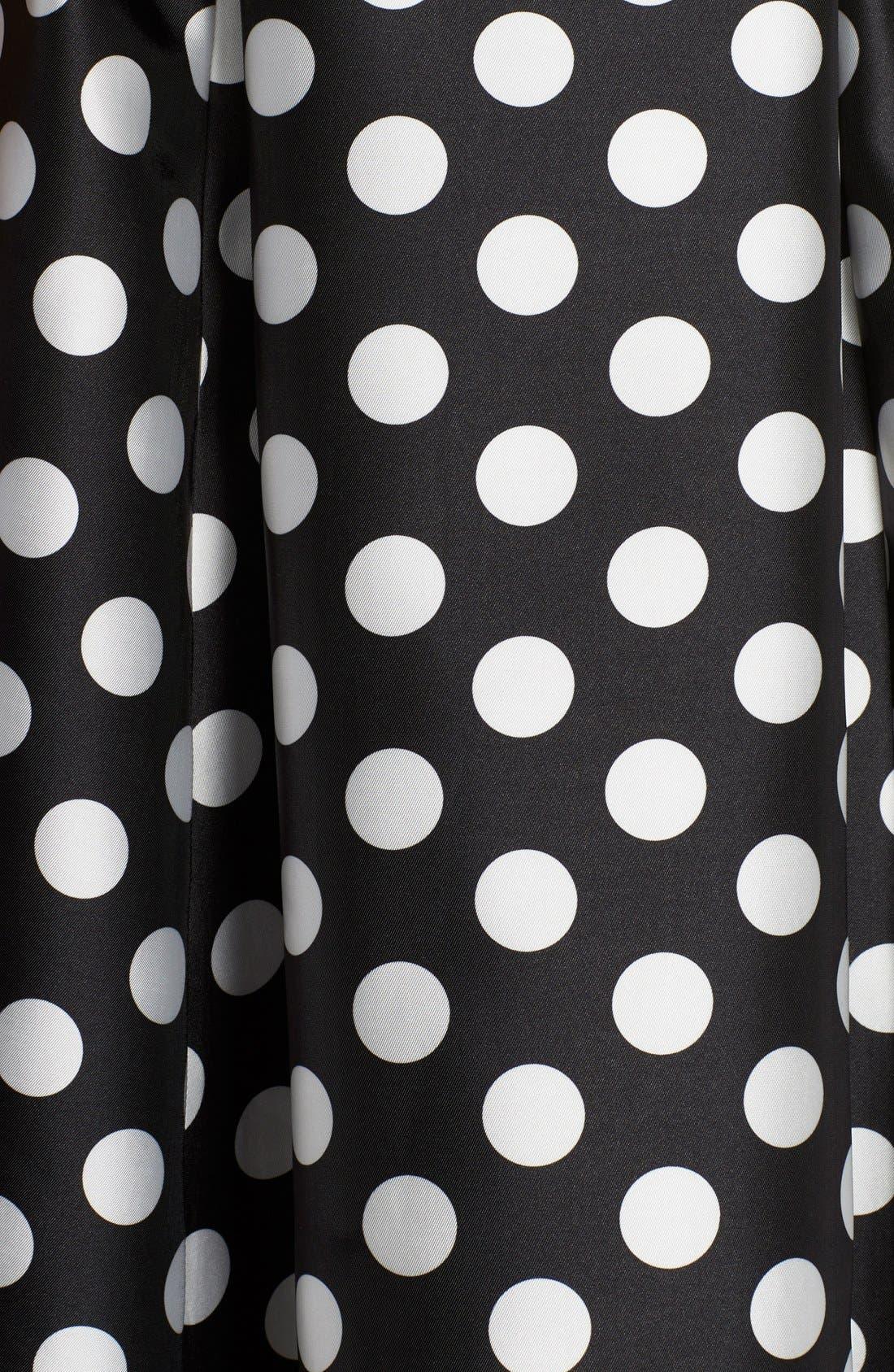 Alternate Image 5  - Adrianna Papell Sleeveless Mikado Fit & Flare Polka Dot Midi Dress (Plus Size)
