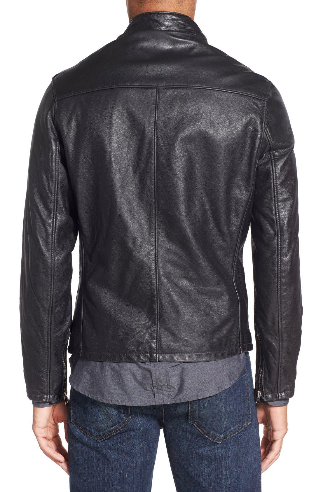 Café Racer Hand Vintaged Cowhide Leather Jacket,                             Alternate thumbnail 2, color,                             Black