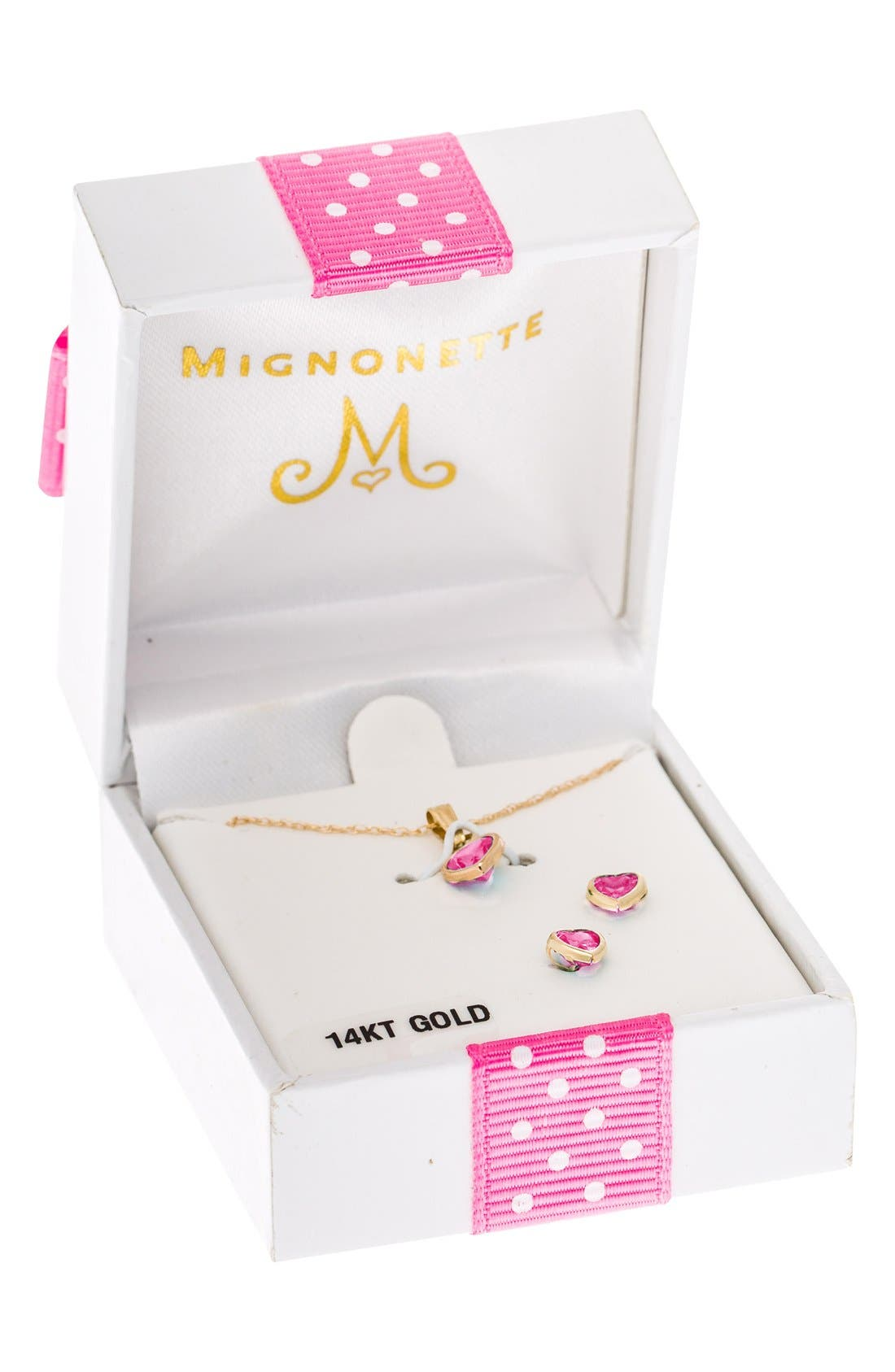 14k Gold Birthstone Necklace & Stud Earrings,                             Alternate thumbnail 3, color,                             October