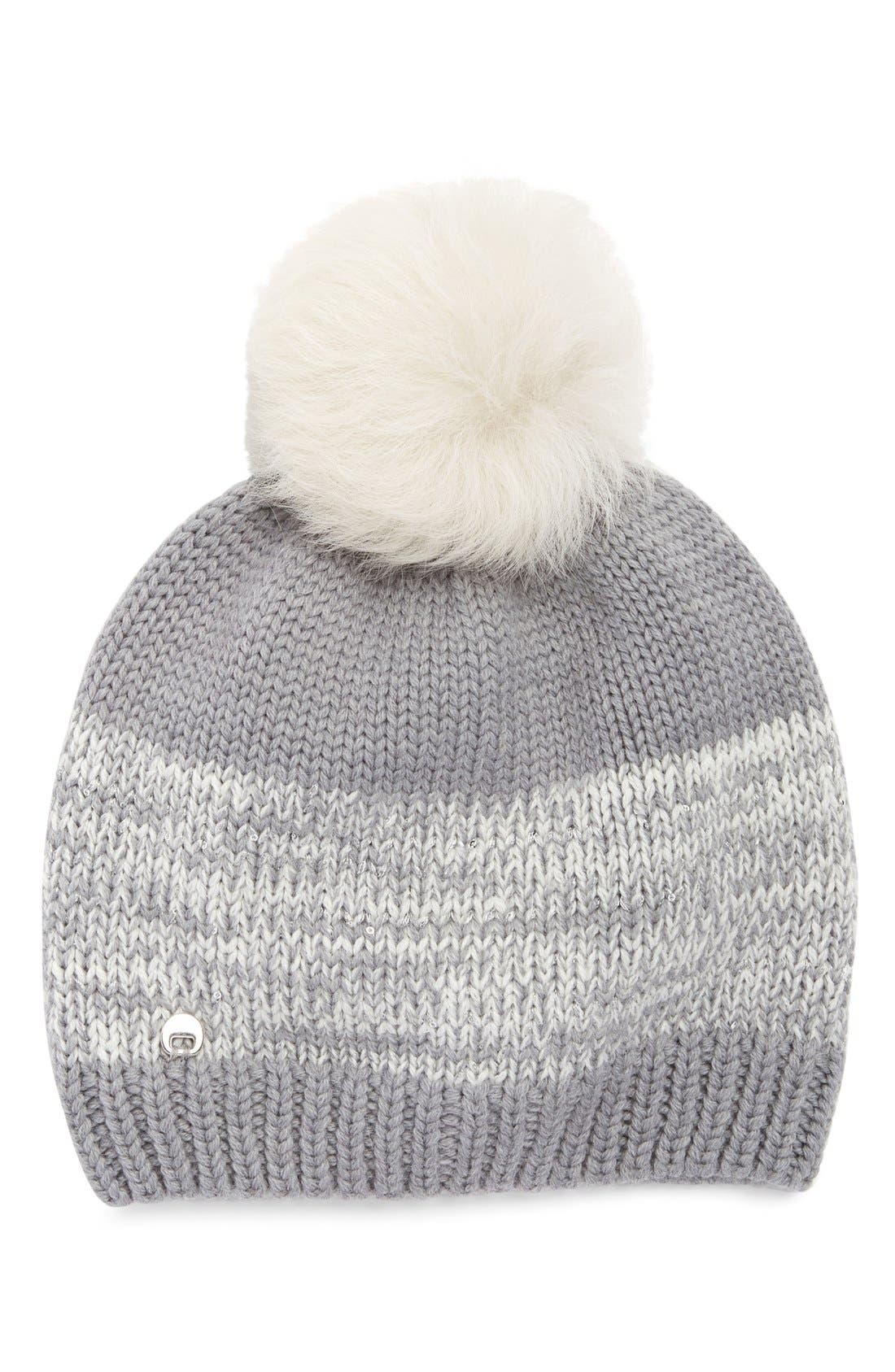 Australia Genuine Shearling Pom Marled Knit Beanie,                             Main thumbnail 1, color,                             Sand Multi