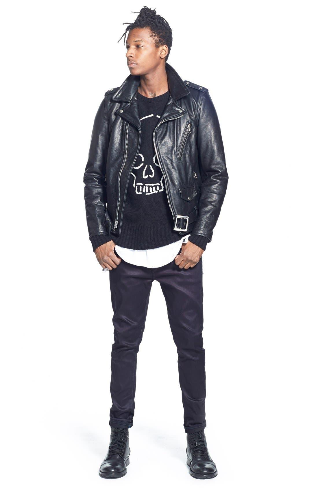 Alternate Image 7  - Schott NYC Perfecto Slim Fit Waxy Leather Moto Jacket