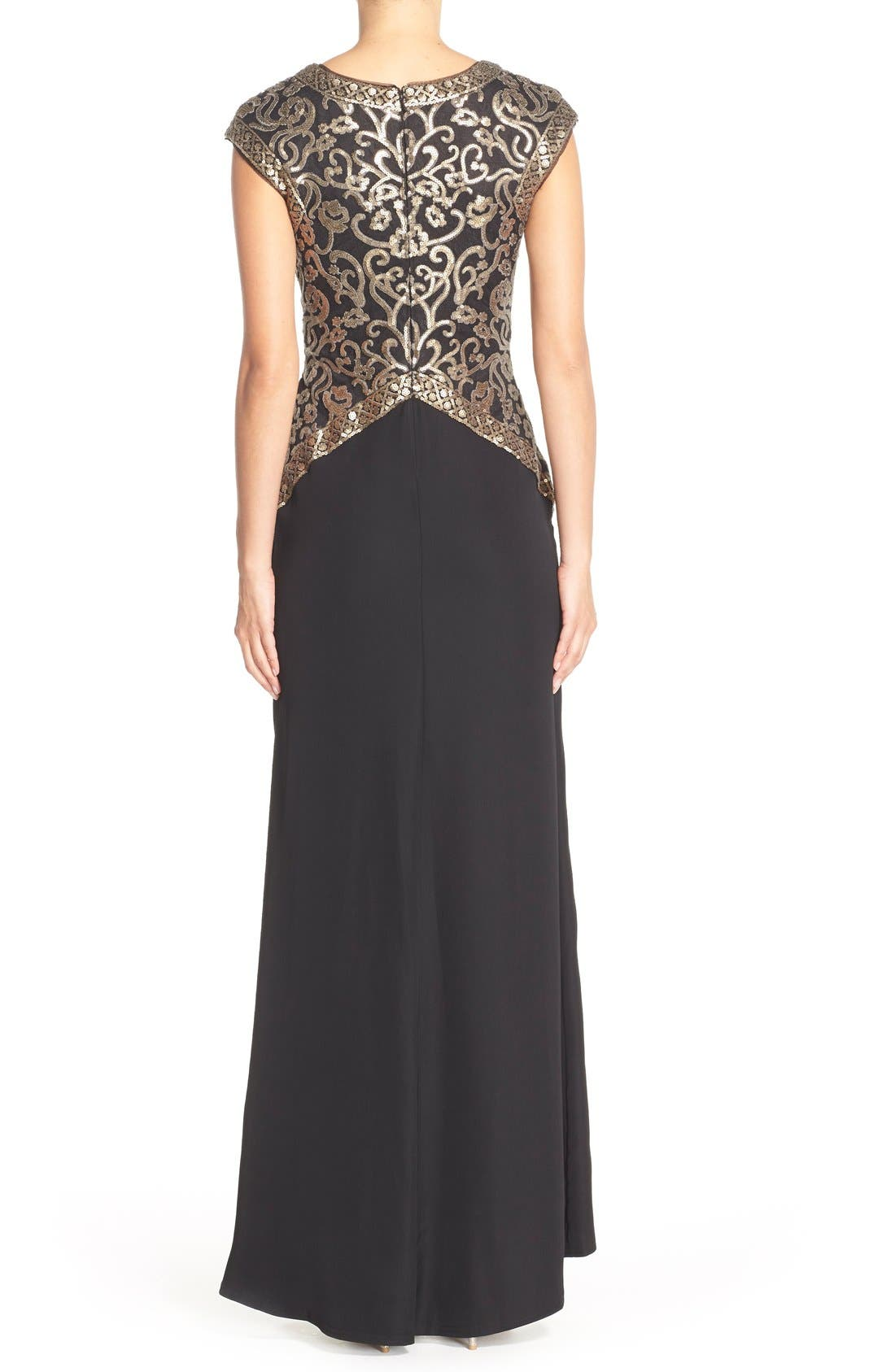 Sequin Embroidered Gown,                             Alternate thumbnail 2, color,                             Smoke Pearl/ Black