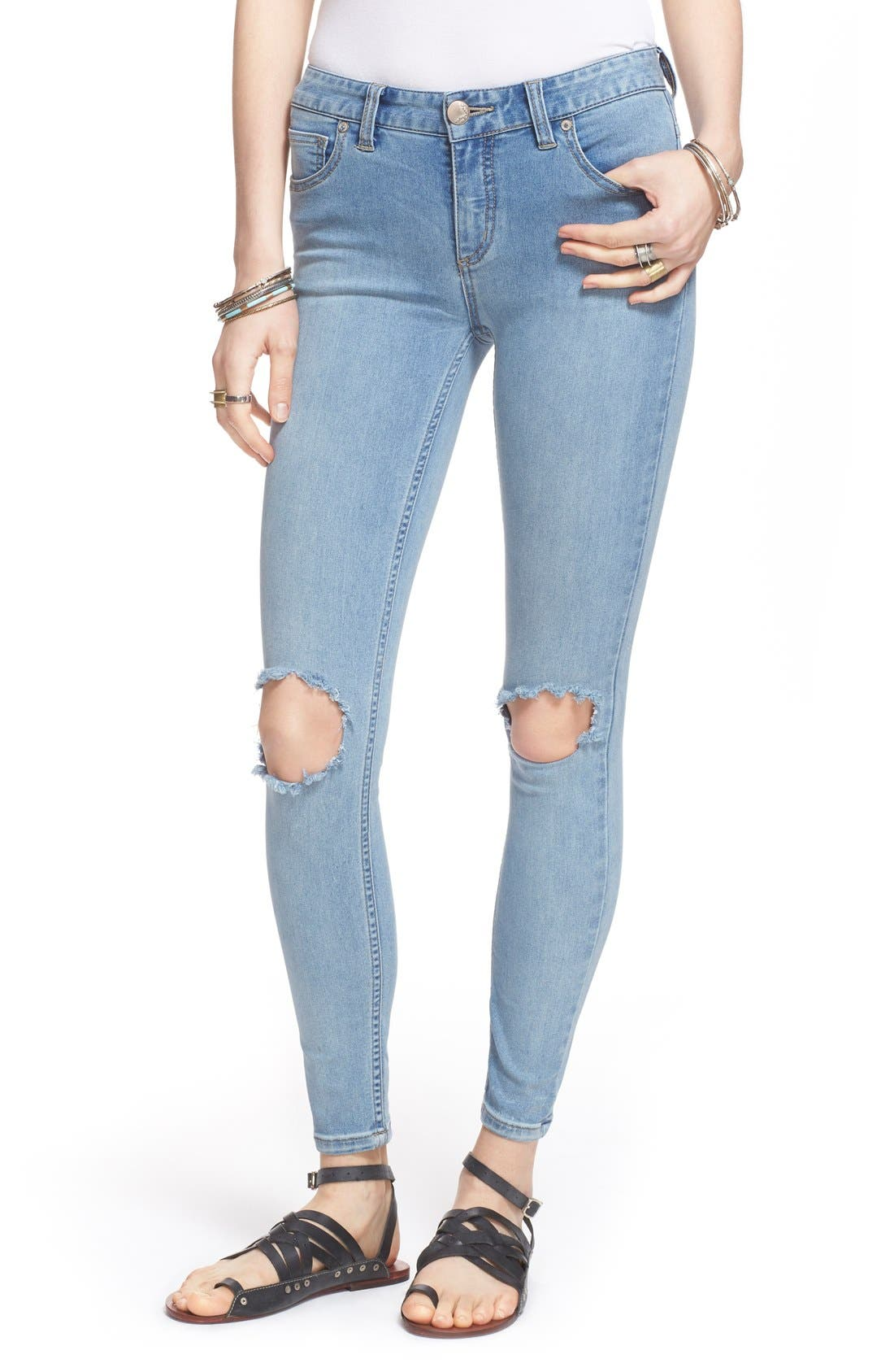 Destroyed Skinny Jeans,                             Main thumbnail 1, color,                             Brass