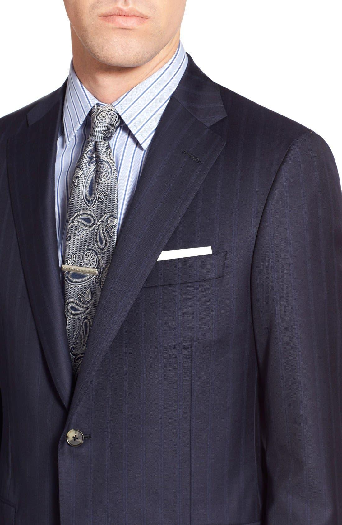 Alternate Image 4  - Hickey Freeman Classic B Fit Stripe Wool Suit