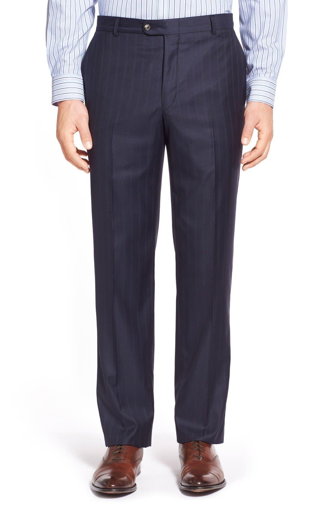 Alternate Image 6  - Hickey Freeman Classic B Fit Stripe Wool Suit