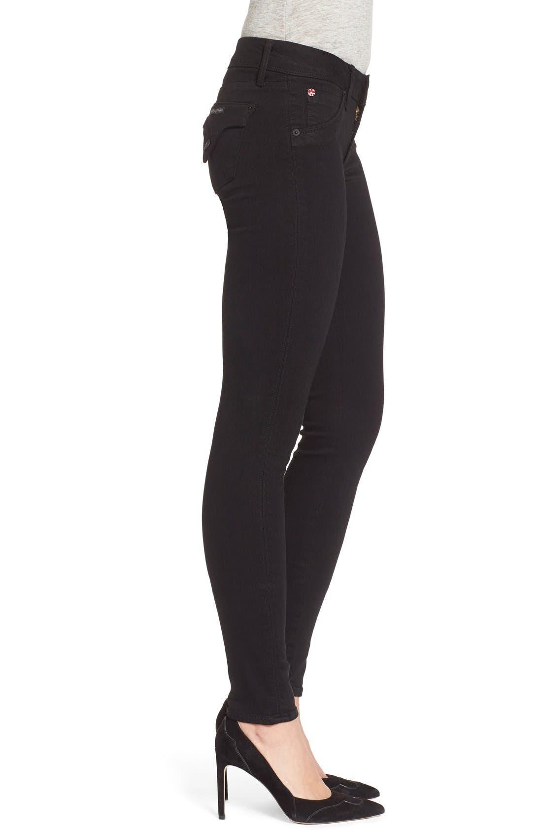 Alternate Image 3  - Hudson Jeans 'Collin' Supermodel Skinny Jeans (Black) (Long)