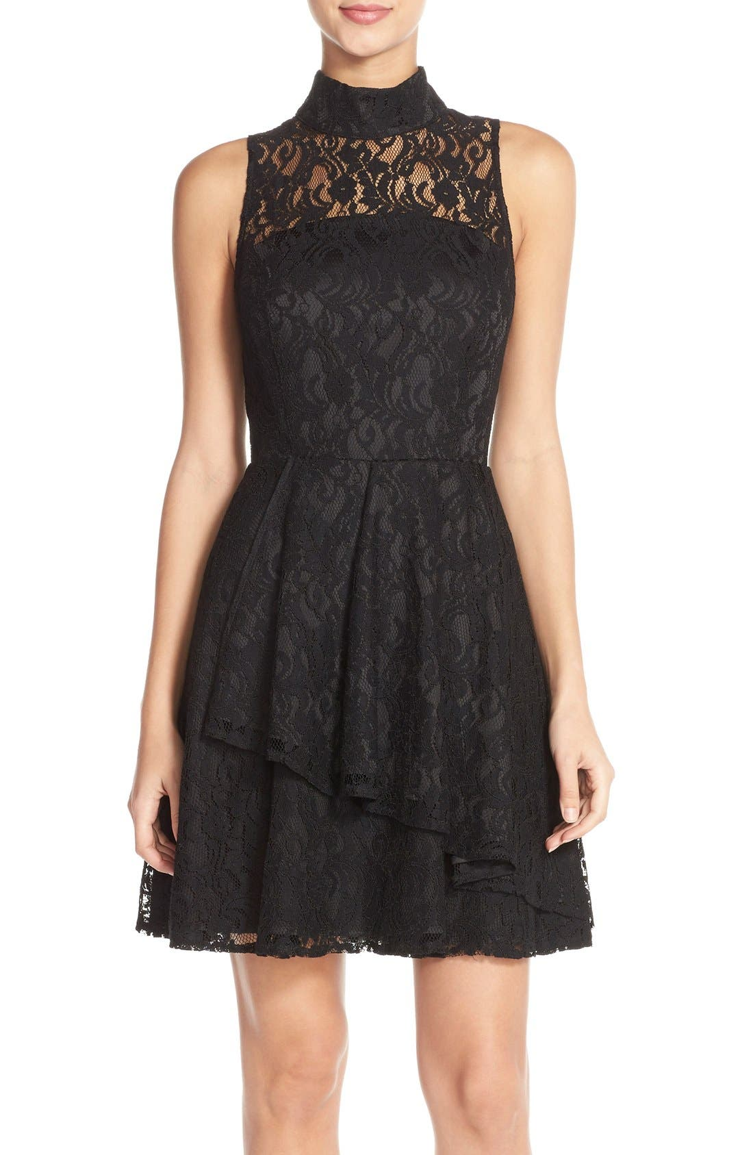 Main Image - Adelyn Rae Mock Neck Lace Fit & Flare Dress