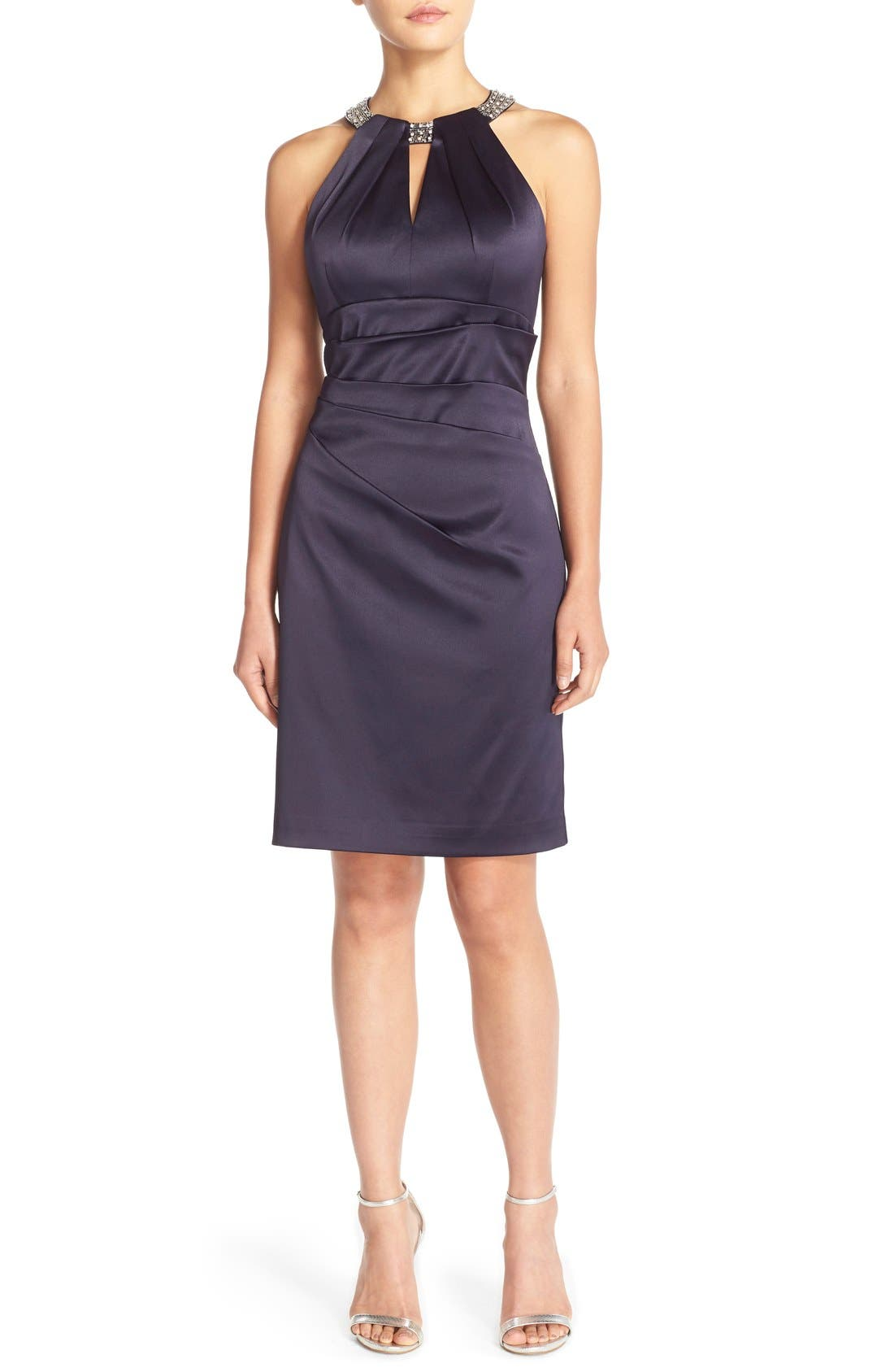 Main Image - Eliza J Embellished Neck Sheath Dress