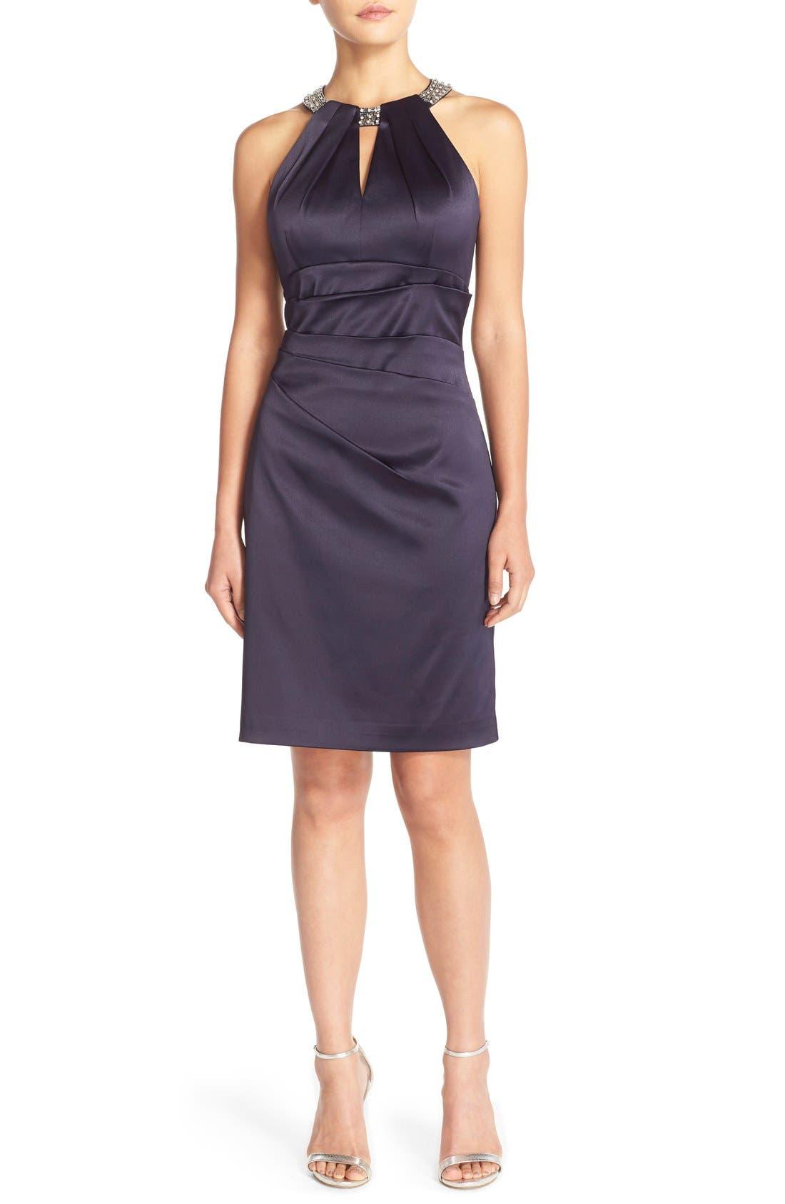 Embellished Neck Sheath Dress,                         Main,                         color, Navy