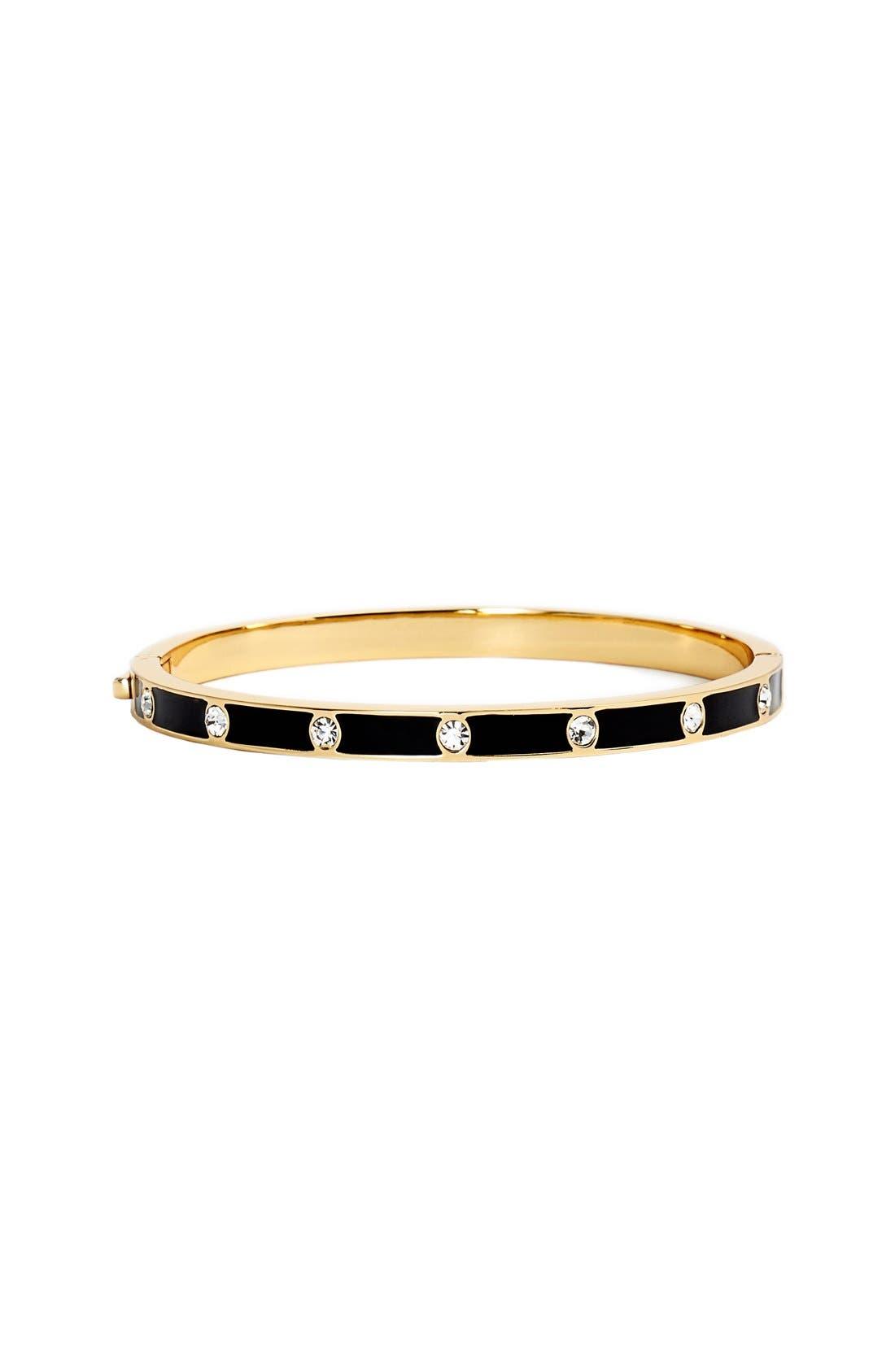 crystal & enamel hinge bangle,                         Main,                         color, Black