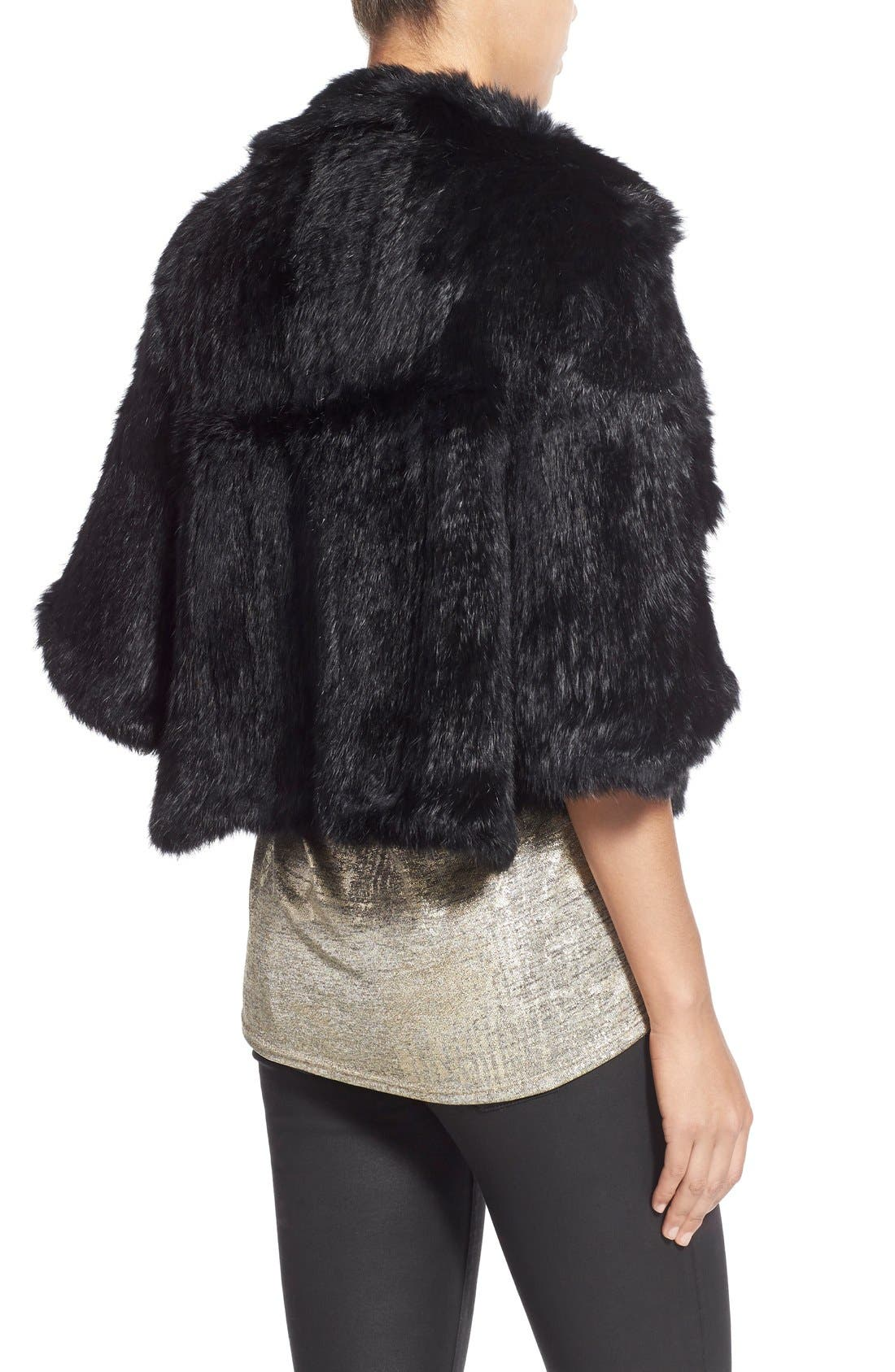 Genuine Rabbit Fur Capelet,                             Alternate thumbnail 3, color,                             Black