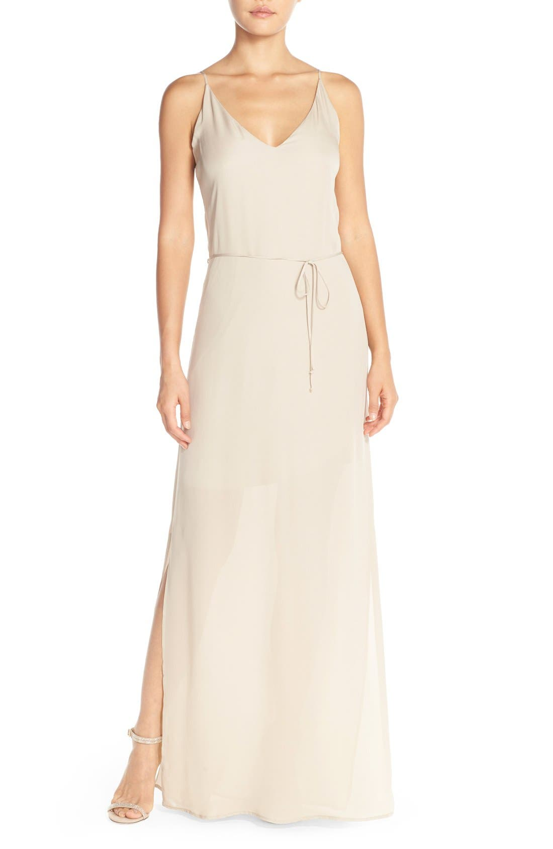 'Harlow' Belted Silk Georgette Deep V-Back Gown,                             Main thumbnail 1, color,                             Nude