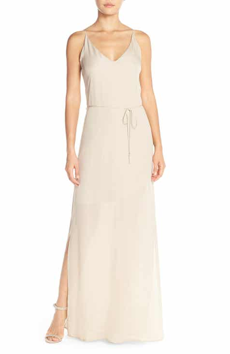 Maids Rory Beca Harlow Belted Silk Georgette Deep V Back Gown