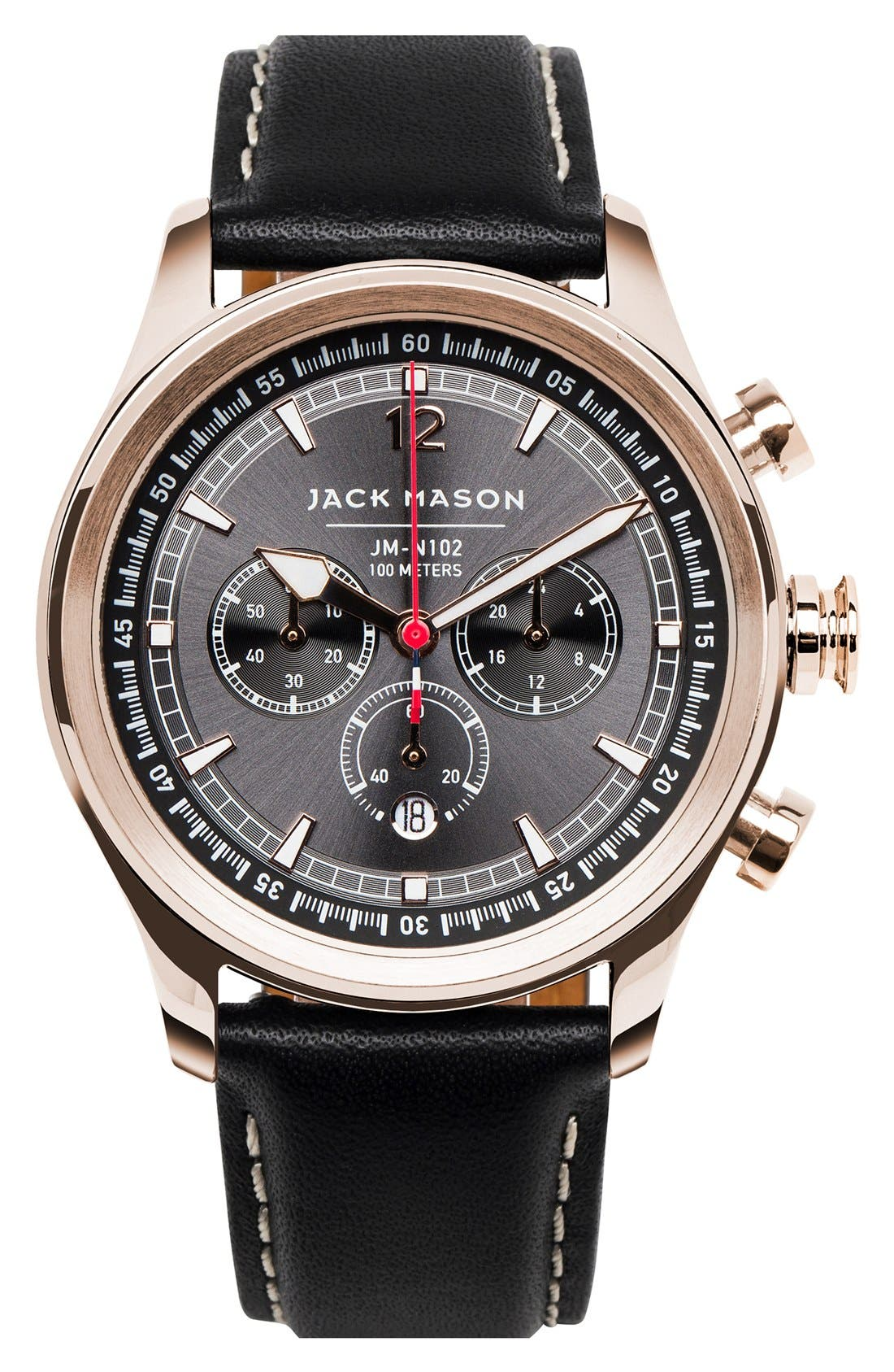 Nautical Chronograph Leather Strap Watch, 42mm,                         Main,                         color, Grey/ Black