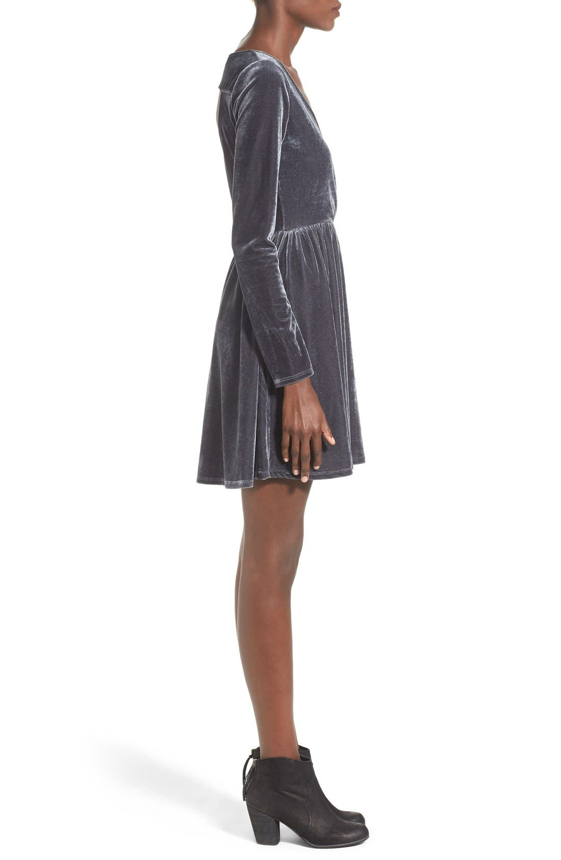 Alternate Image 3  - dee elle Cutout Surplice Velvet Skater Dress