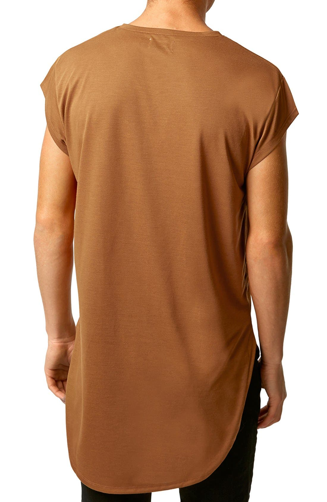 Longline Cap Sleeve T-Shirt,                             Alternate thumbnail 2, color,                             Mustard