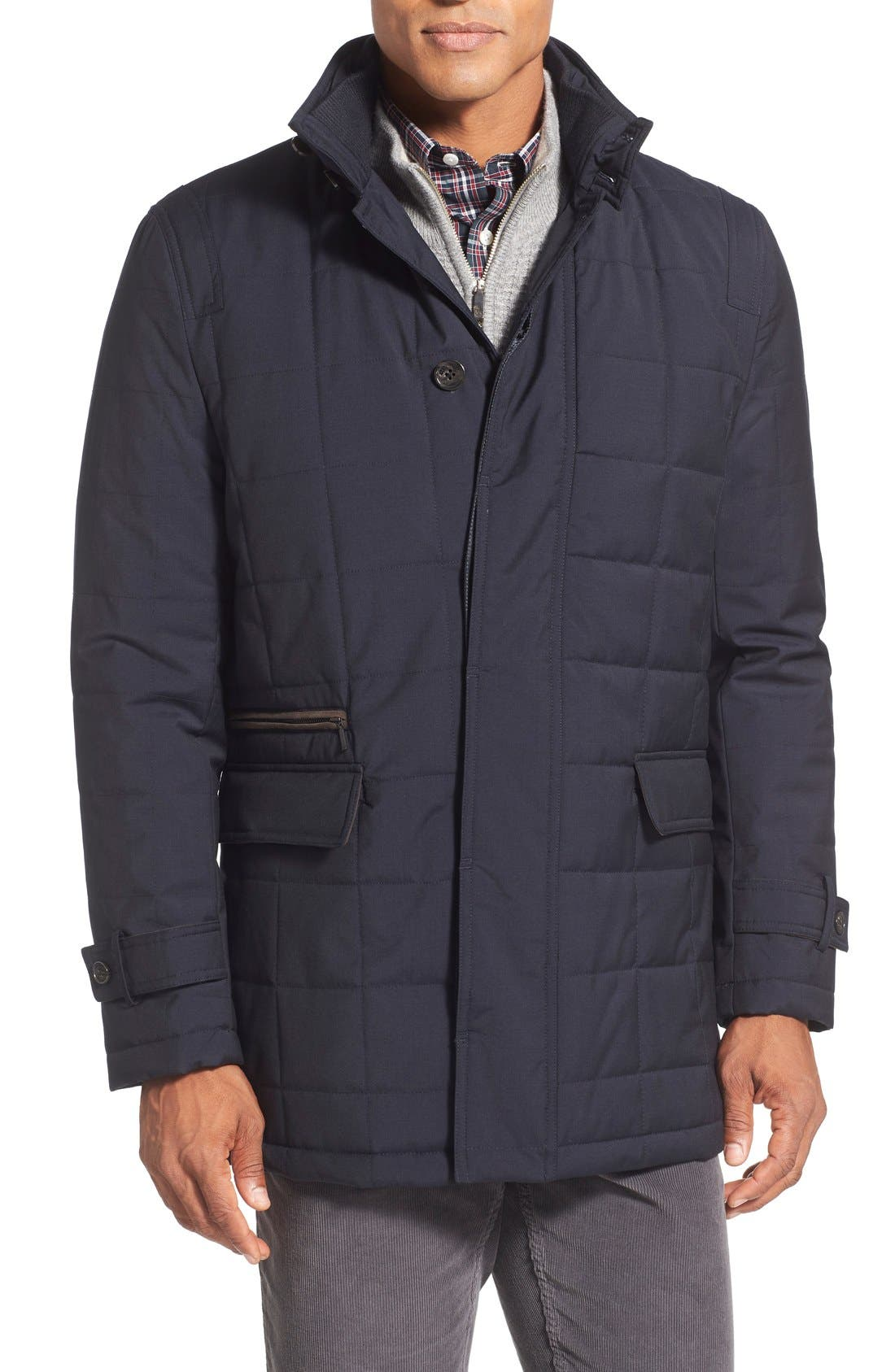 Quilted Wool Parka,                         Main,                         color, Navy