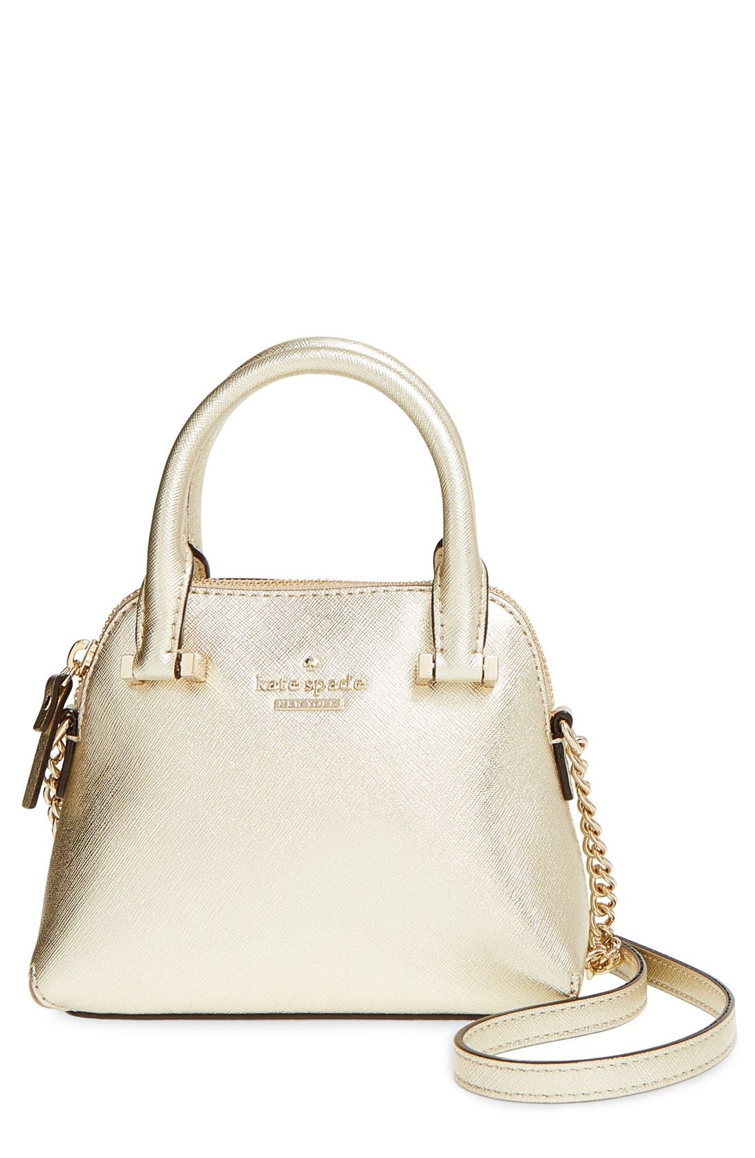 Alternate Image 1 Selected - kate spade new york 'cedar street - mini maise' metallic leather crossbody bag