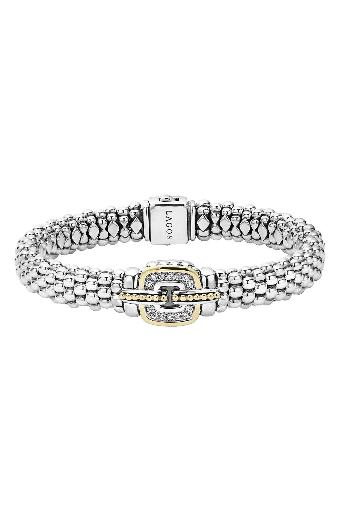 Cushion Caviar Bracelet,                         Main,                         color, Silver/ Gold